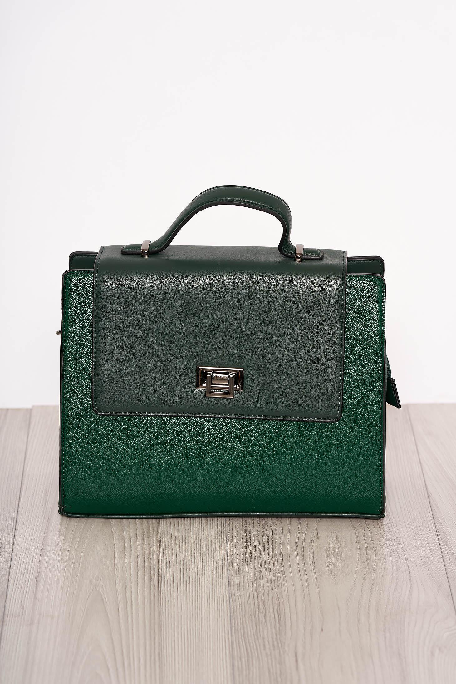 Bag green elegant faux leather short handles