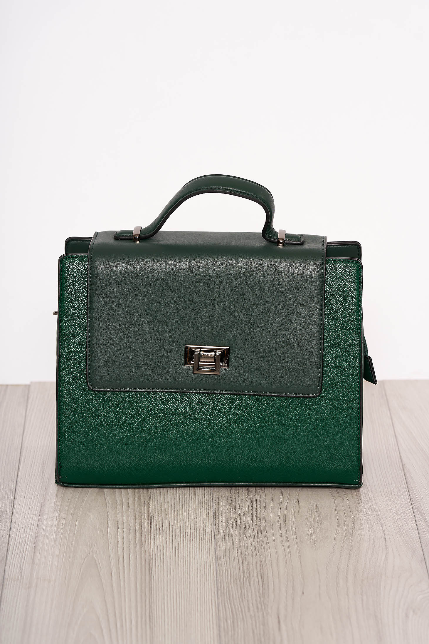 Green bag elegant faux leather short handle and long chain handle