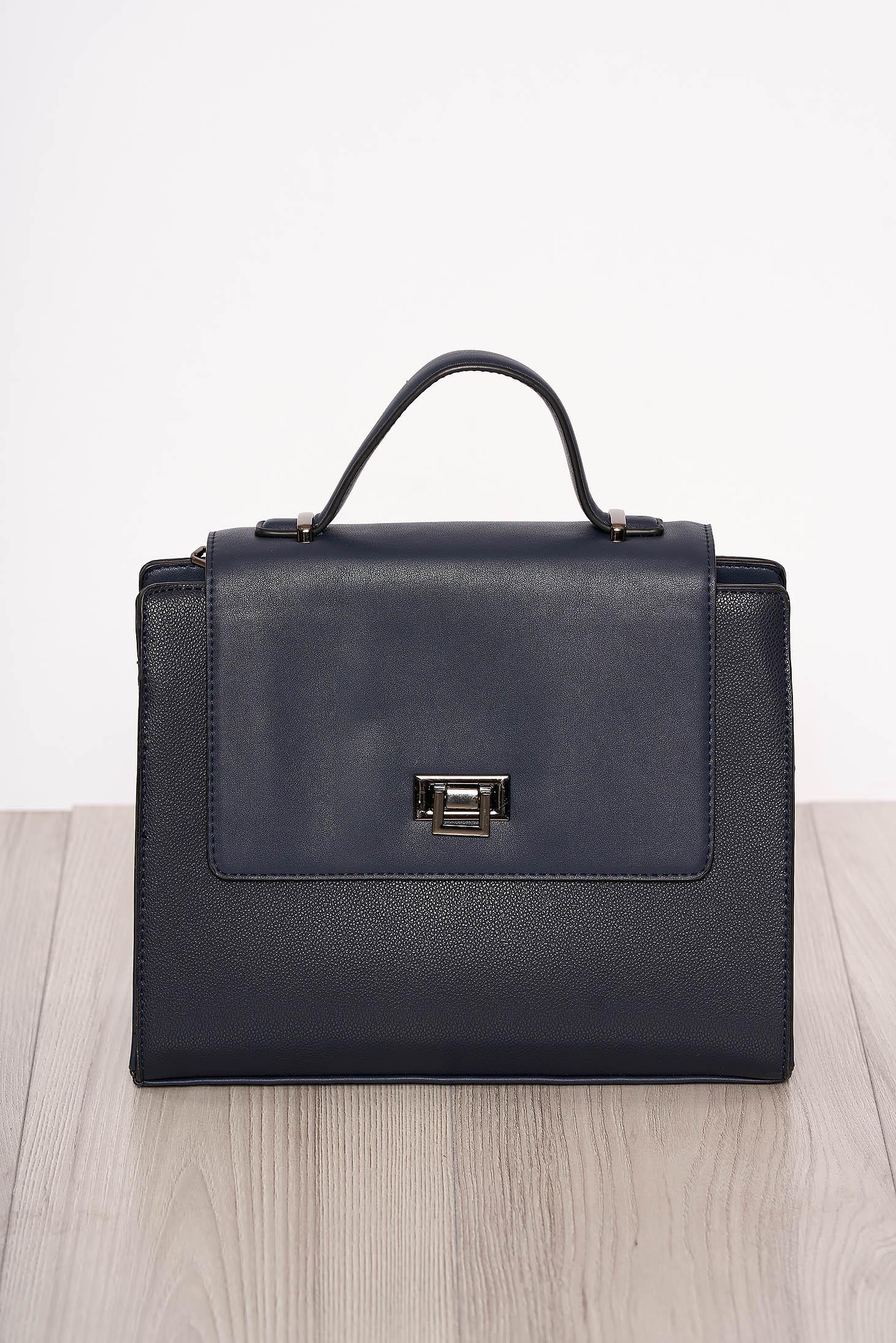 Bag darkblue elegant faux leather short handles