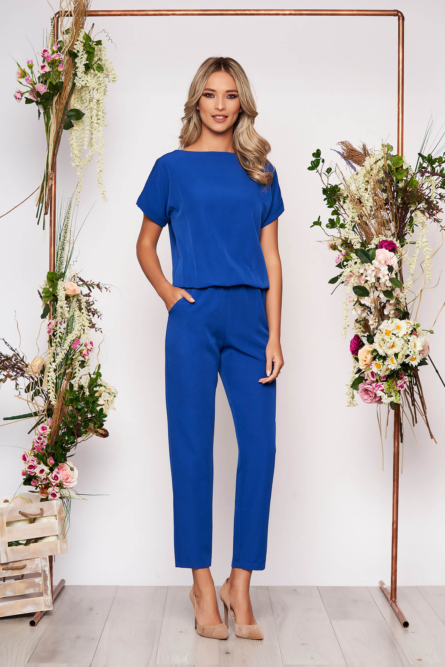 Blue jumpsuit elegant occasional with elastic waist short sleeves long