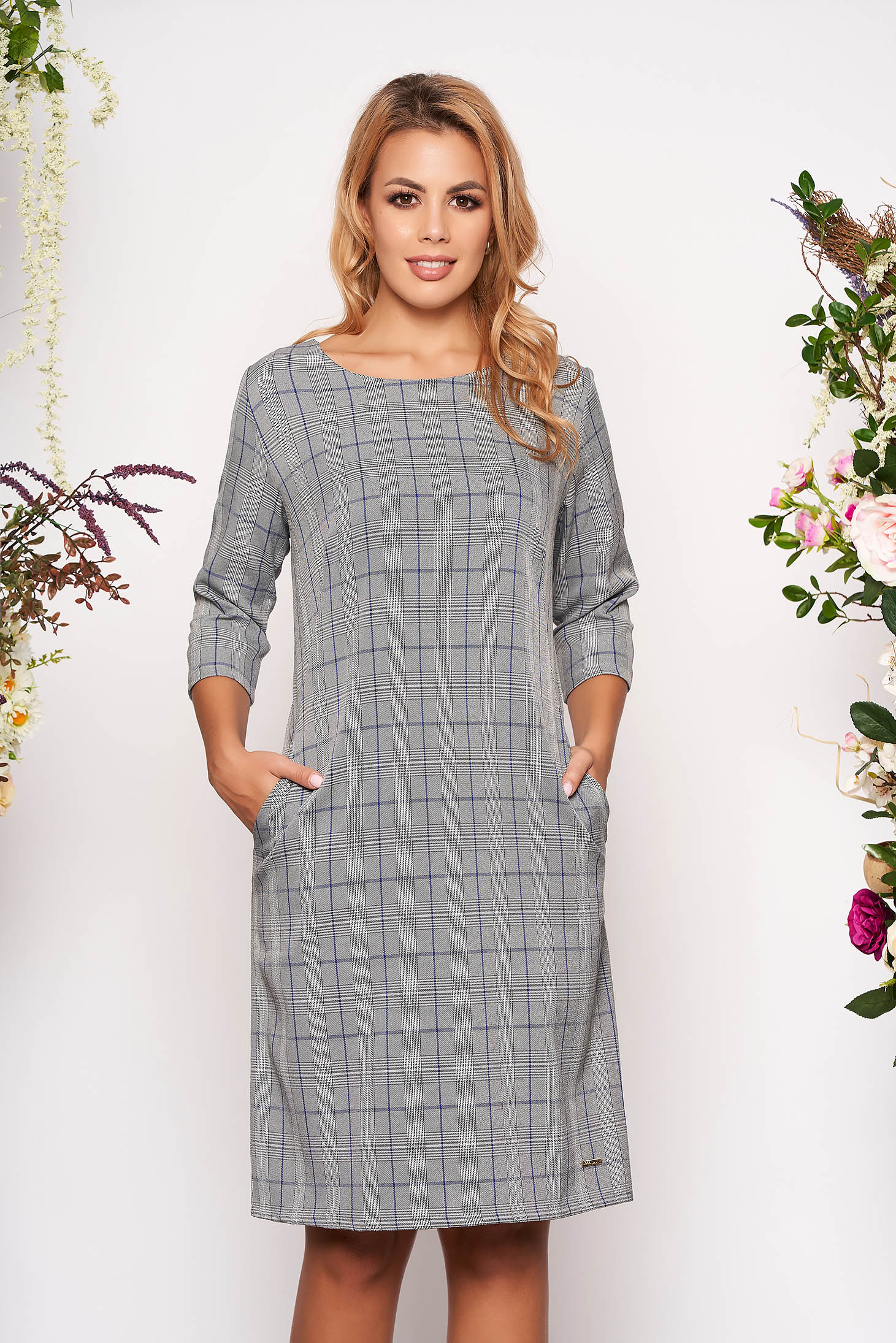 Blue dress daily a-line cloth thin fabric with chequers with pockets without clothing