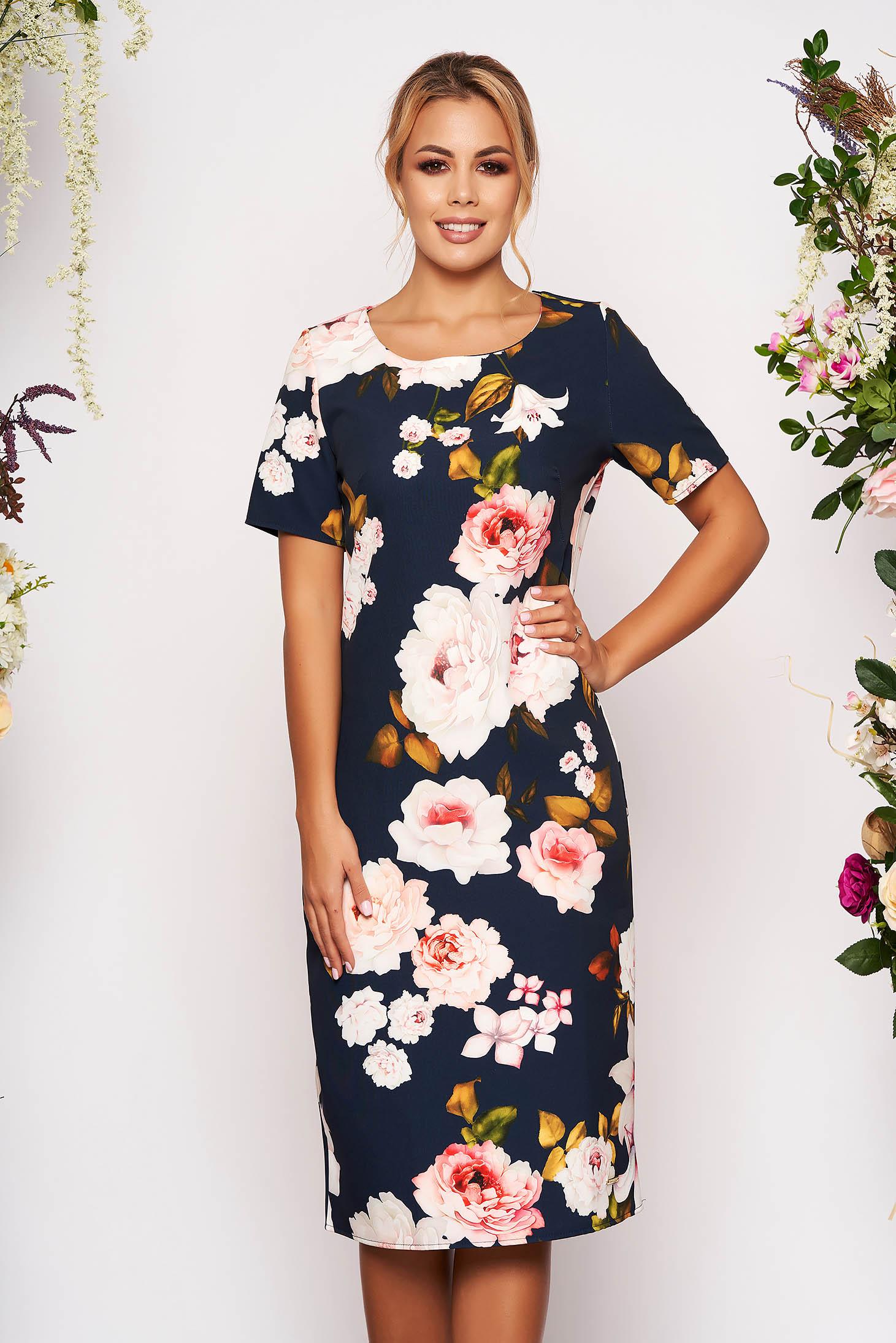 Darkblue dress short cut a-line short sleeves neckline with floral print