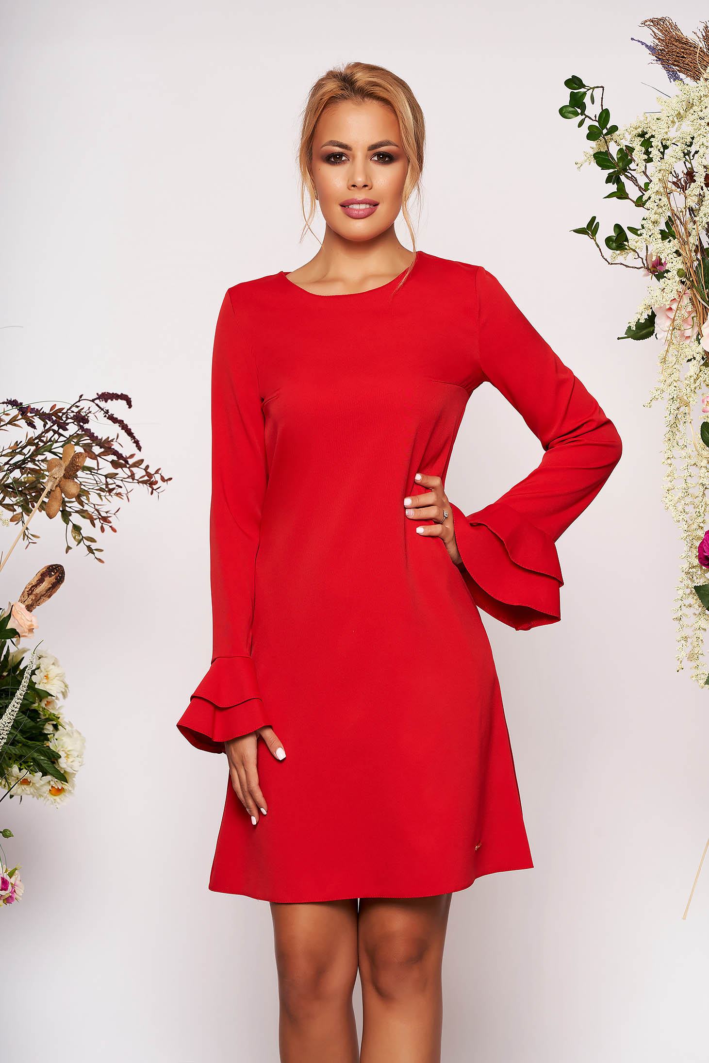 Red dress elegant short cut a-line with pockets neckline long sleeved with bell sleeve