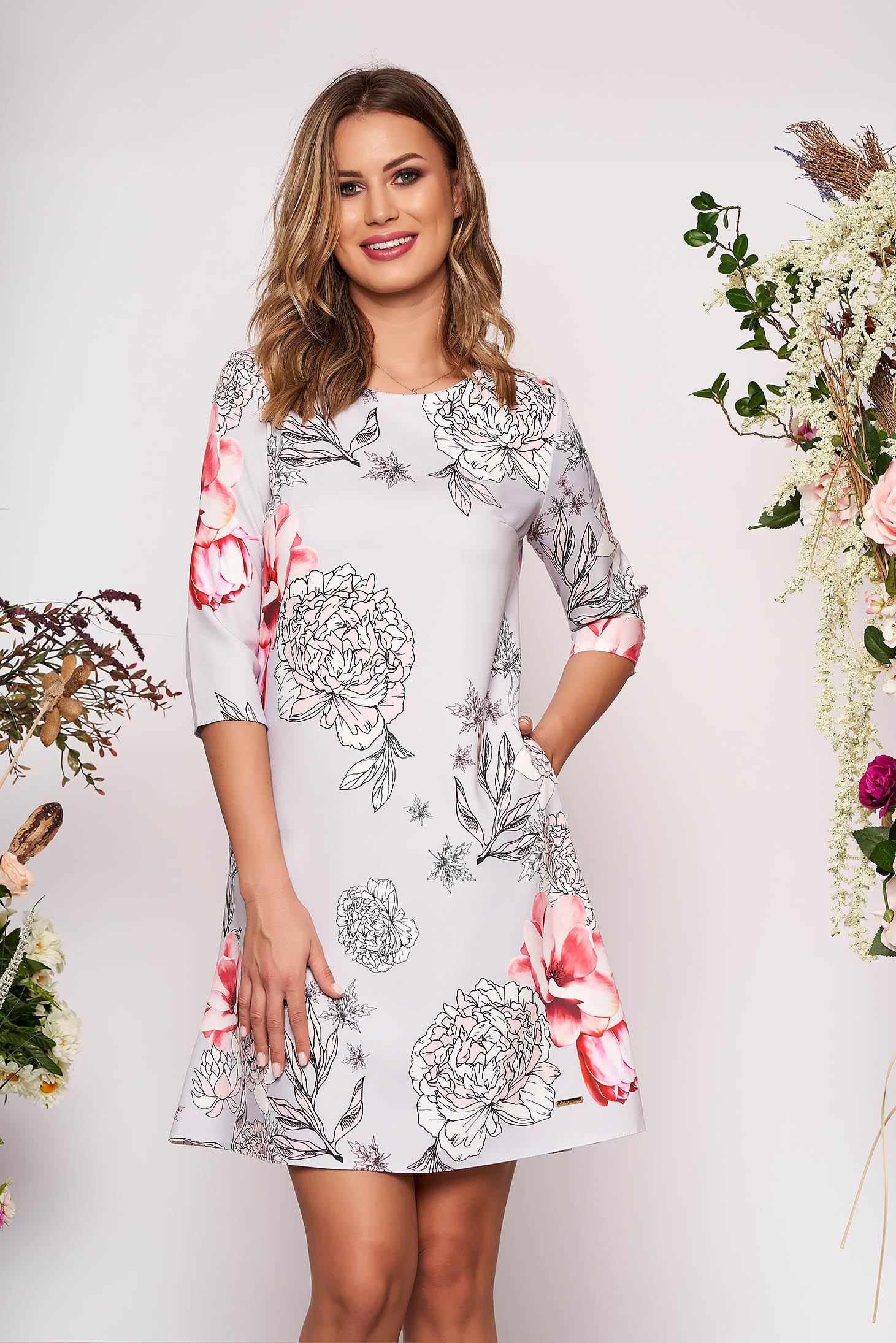 Rochie gri scurta eleganta cu croi in a cu buzunare fara captuseala cu imprimeu floral