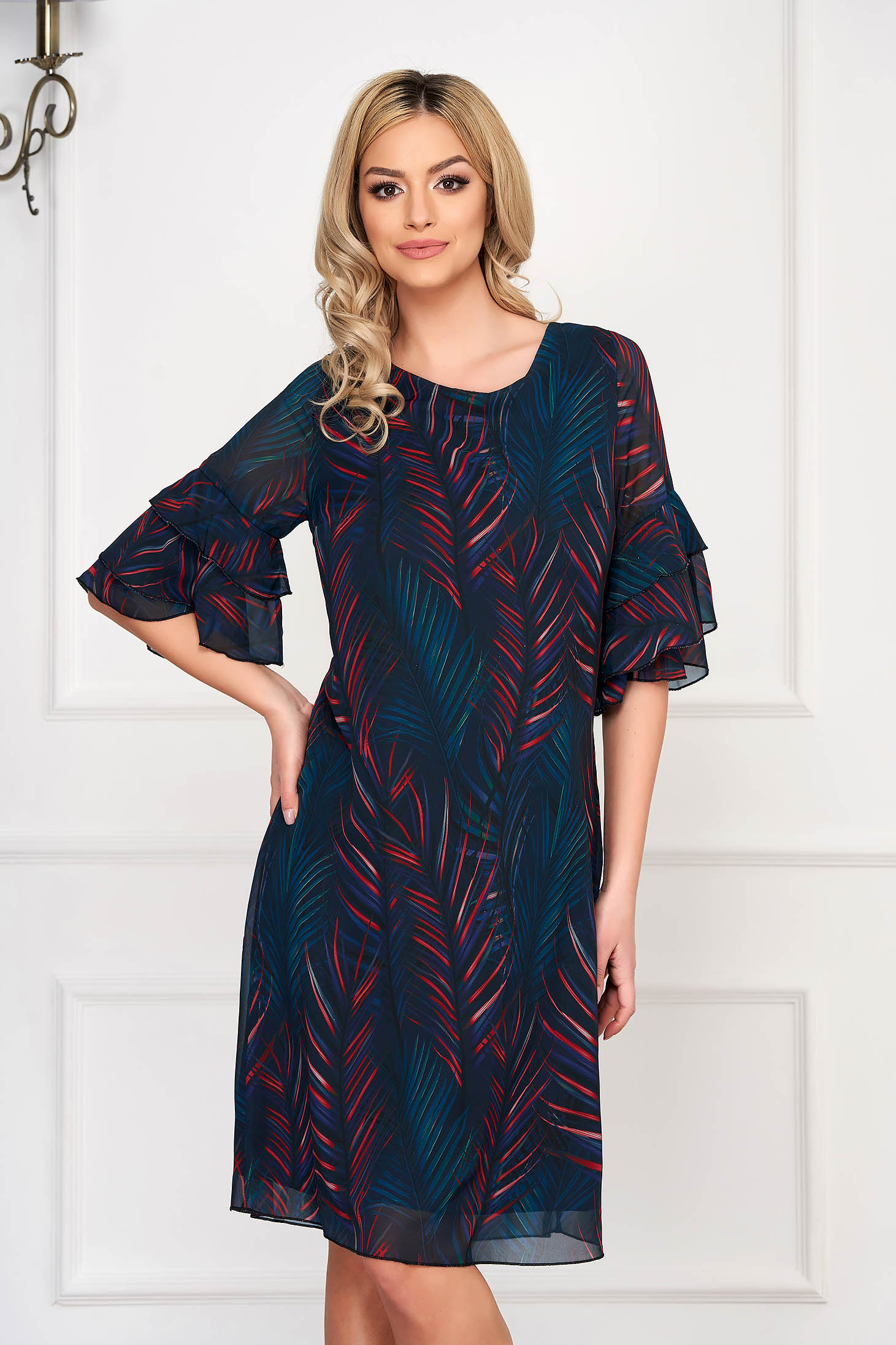 Black dress daily short cut a-line bell sleeves with graphic details neckline
