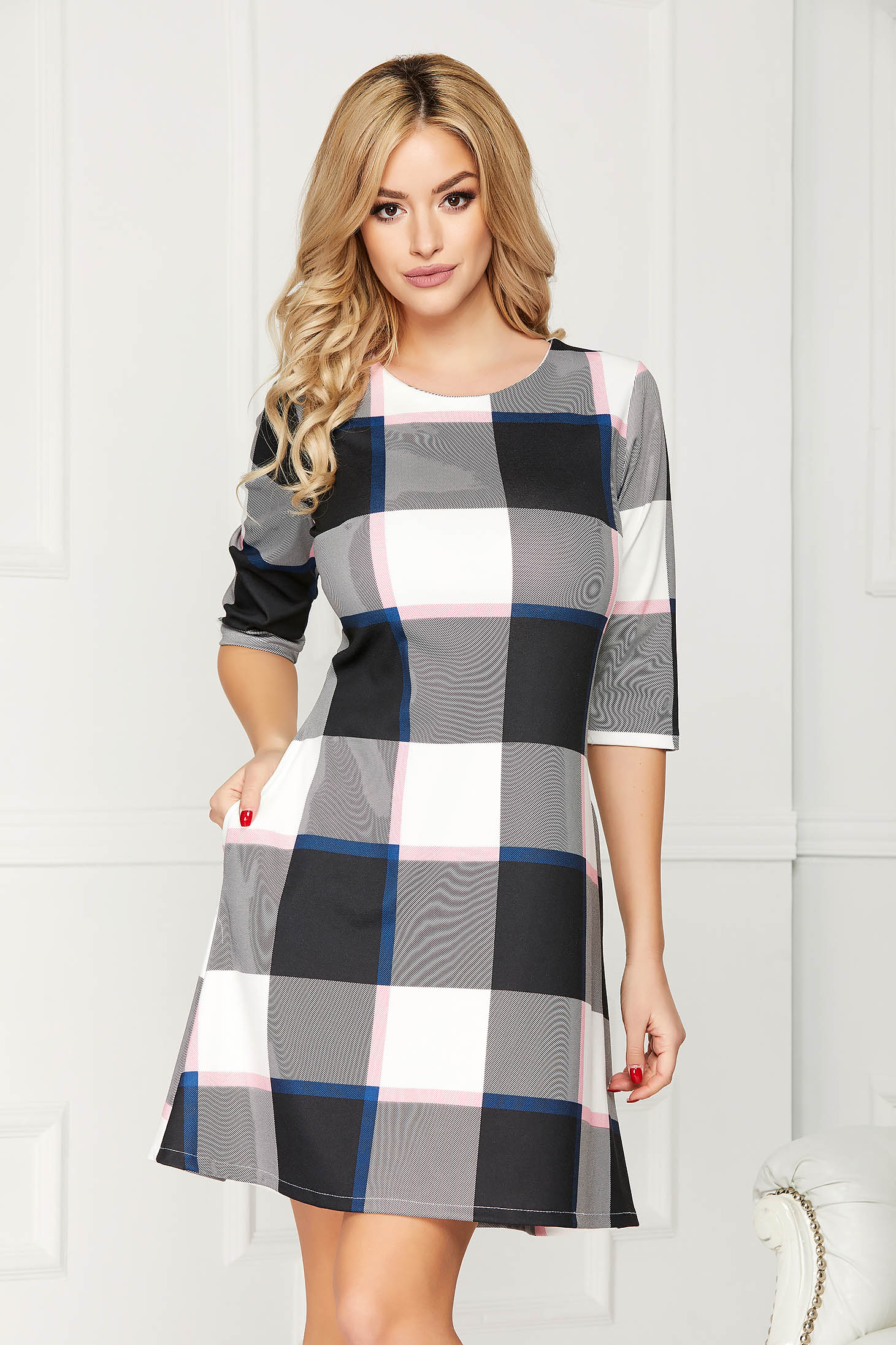 Grey dress casual daily short cut a-line with pockets without clothing