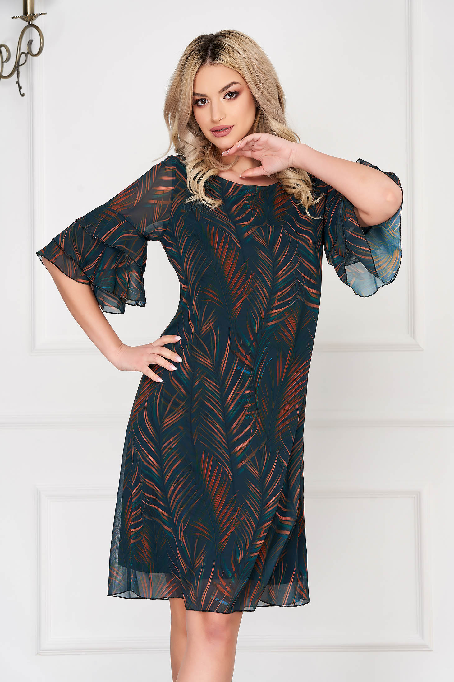 Darkgreen dress daily short cut a-line bell sleeves with graphic details neckline