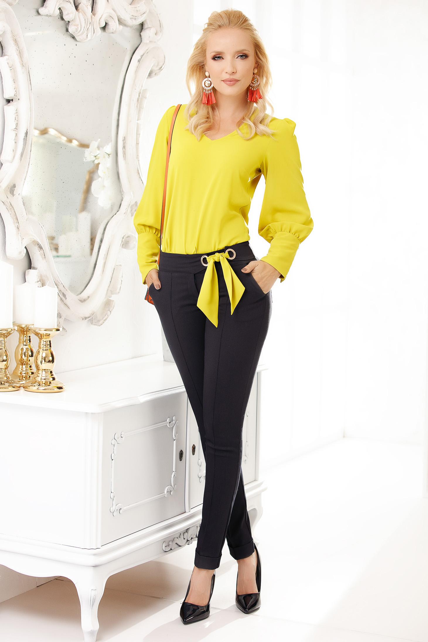 Darkblue trousers elegant straight cloth thin fabric medium waist with pockets