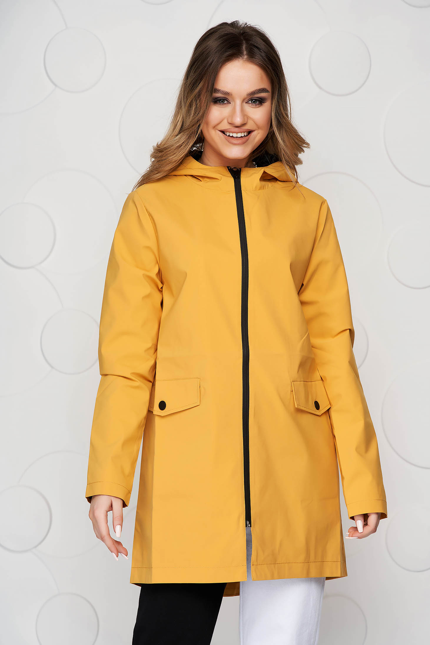 Mustard jacket casual short cut long sleeve with pockets with inside lining