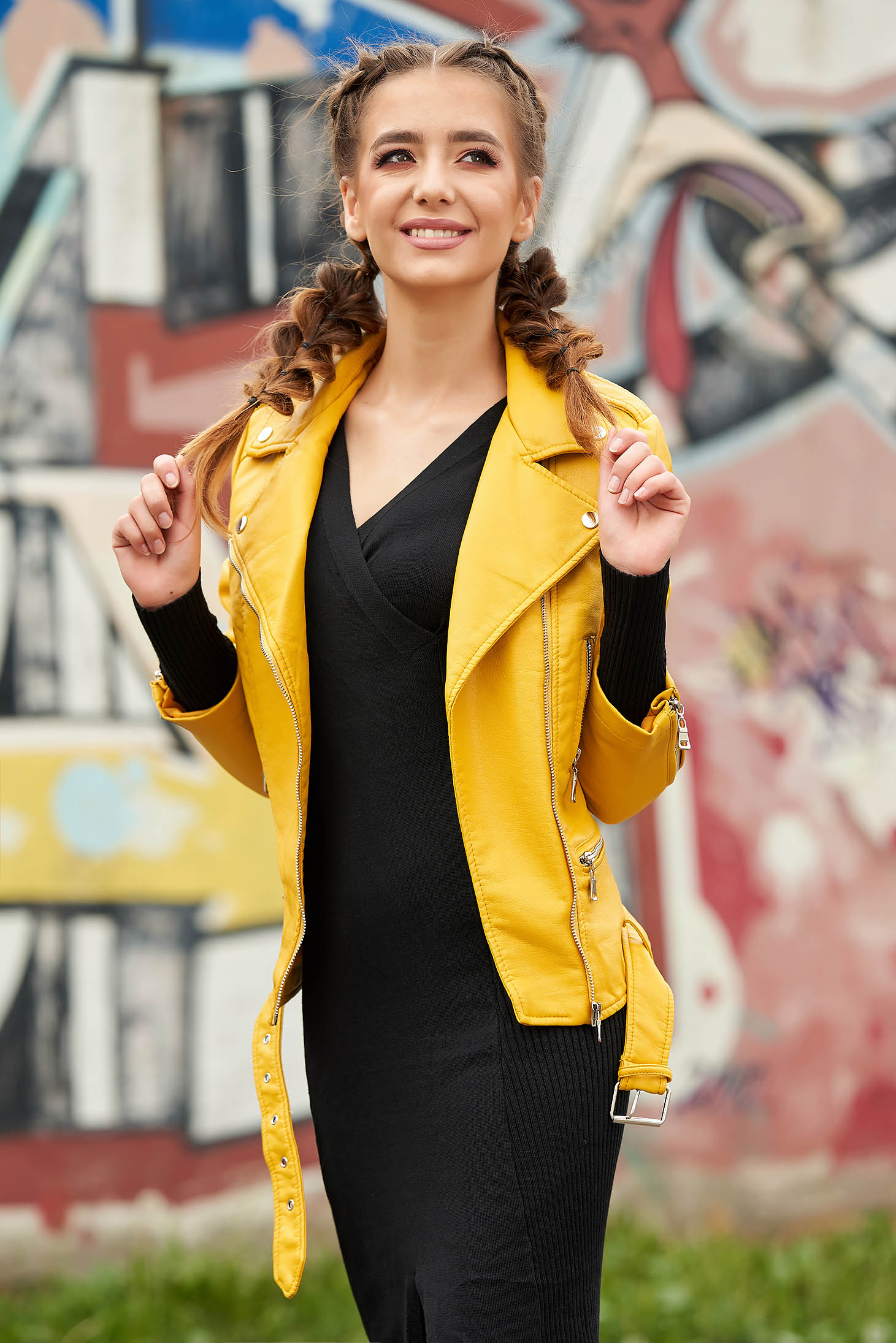Mustard jacket casual short cut faux leather with zipper details pockets zipped sleeves