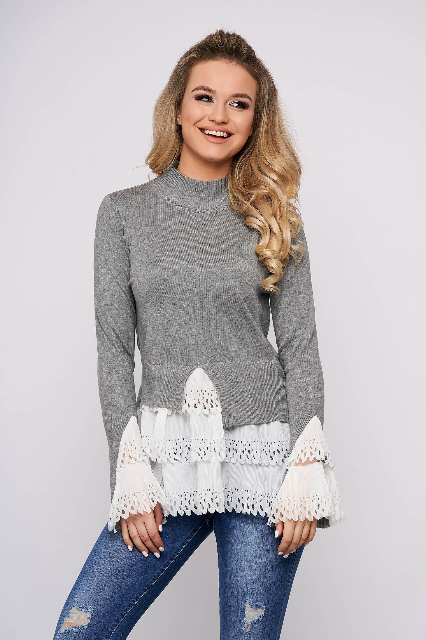 Grey sweater casual with turtle neck asymmetrical long sleeve poplin, thin cotton