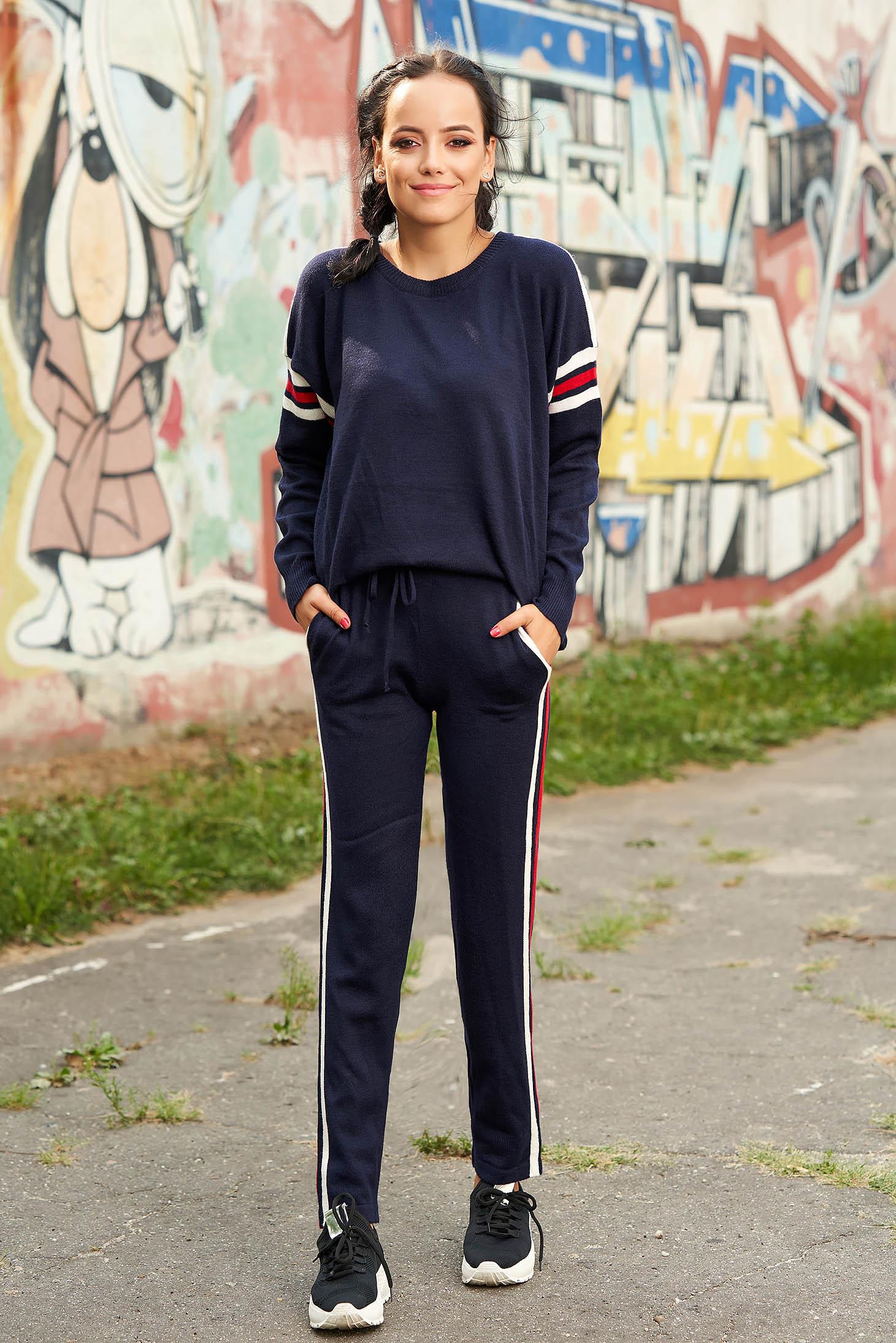 Set SunShine albastru-inchis casual din 2 piese cu pantaloni din material tricotat