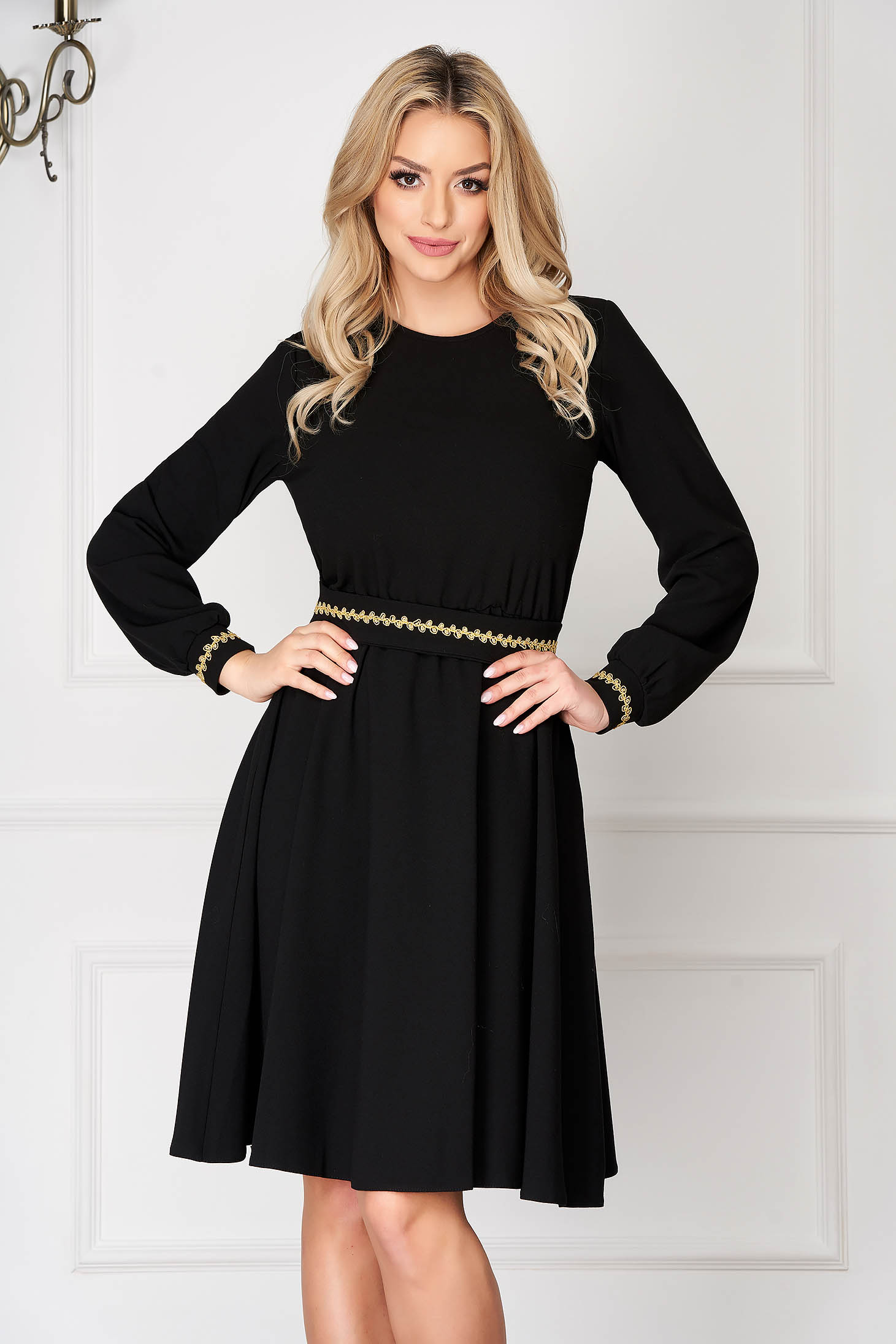StarShinerS black elegant midi cloche dress with elastic waist without clothing long sleeved detachable cord