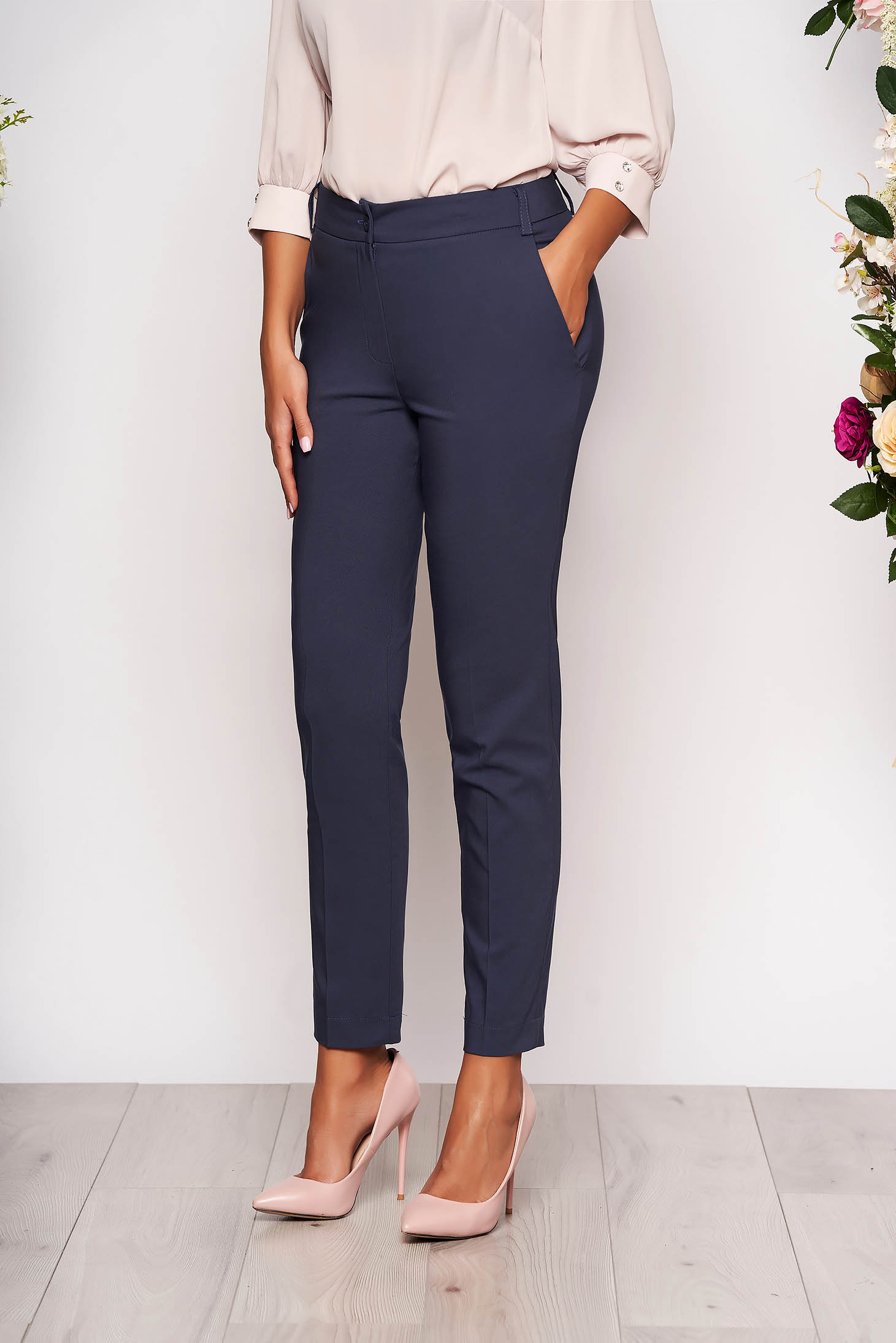 Darkblue trousers elegant conical long medium waist cloth with pockets