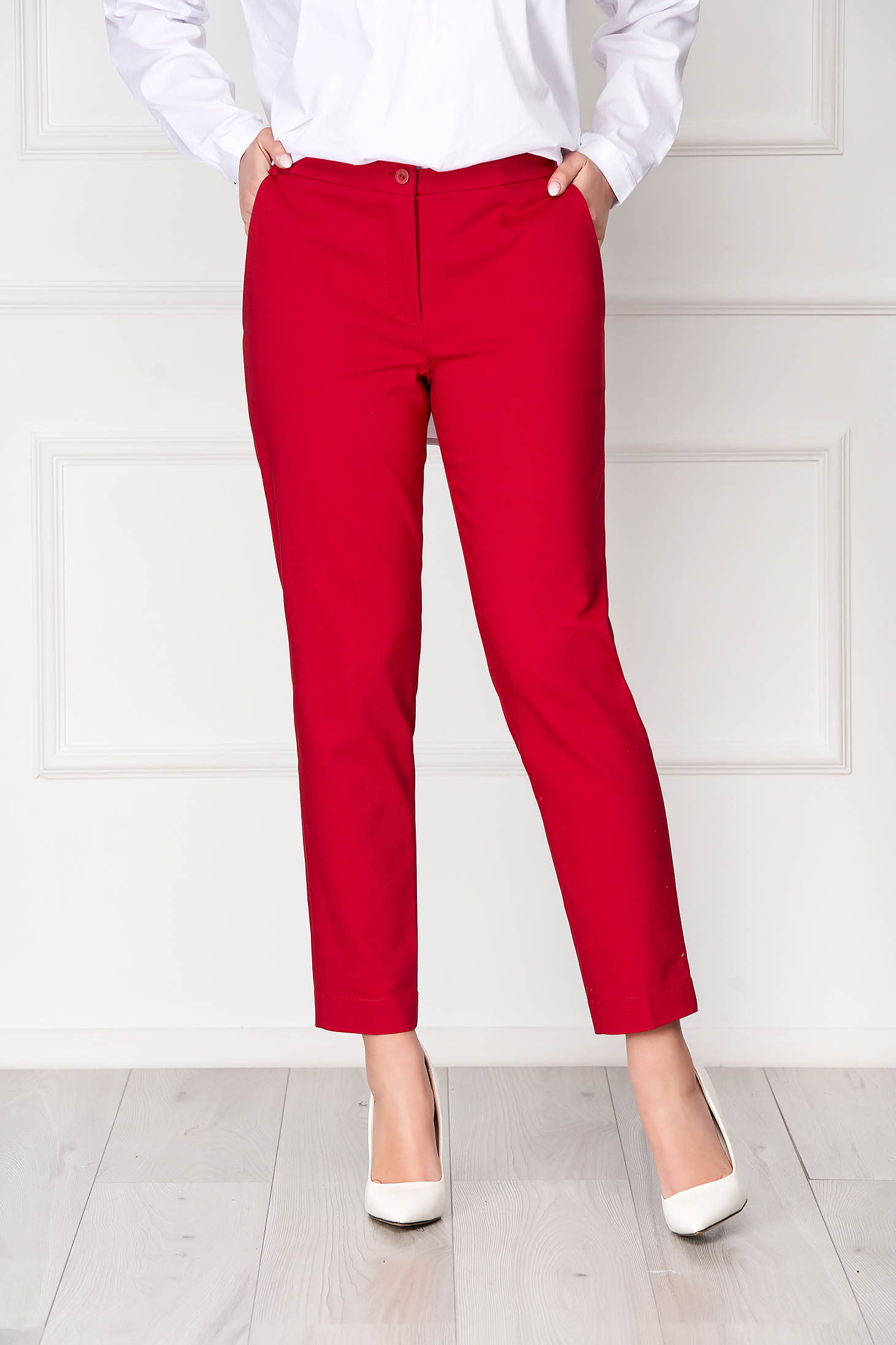 Red trousers elegant conical long medium waist cloth with pockets