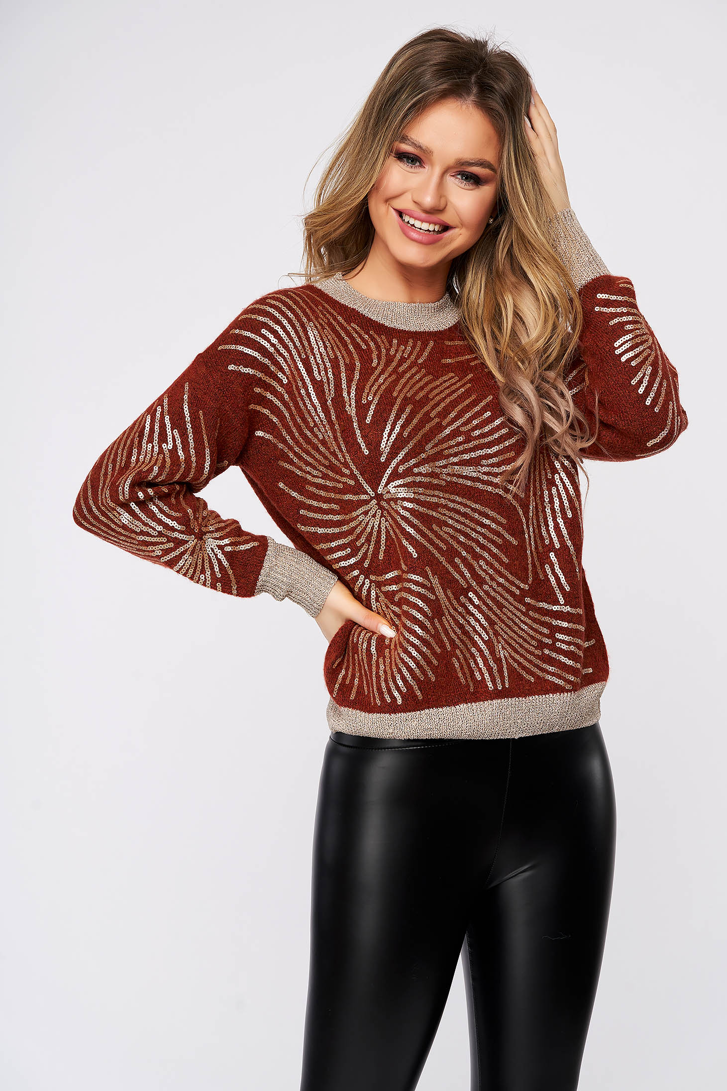 Bricky sweater casual short cut flared knitted with sequin embellished details neckline