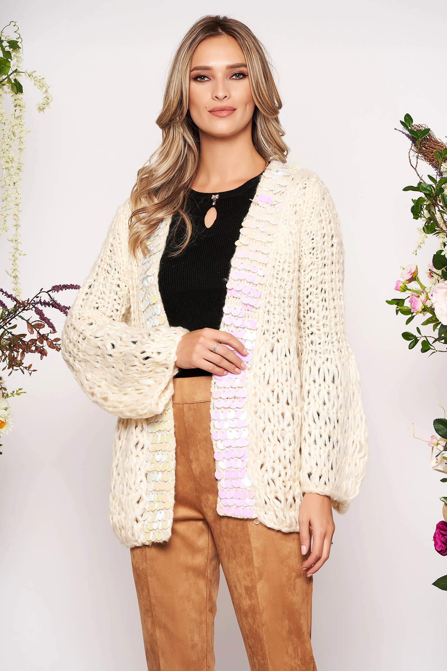 Cream cardigan casual long with sequin embellished details with easy cut knitted fabric