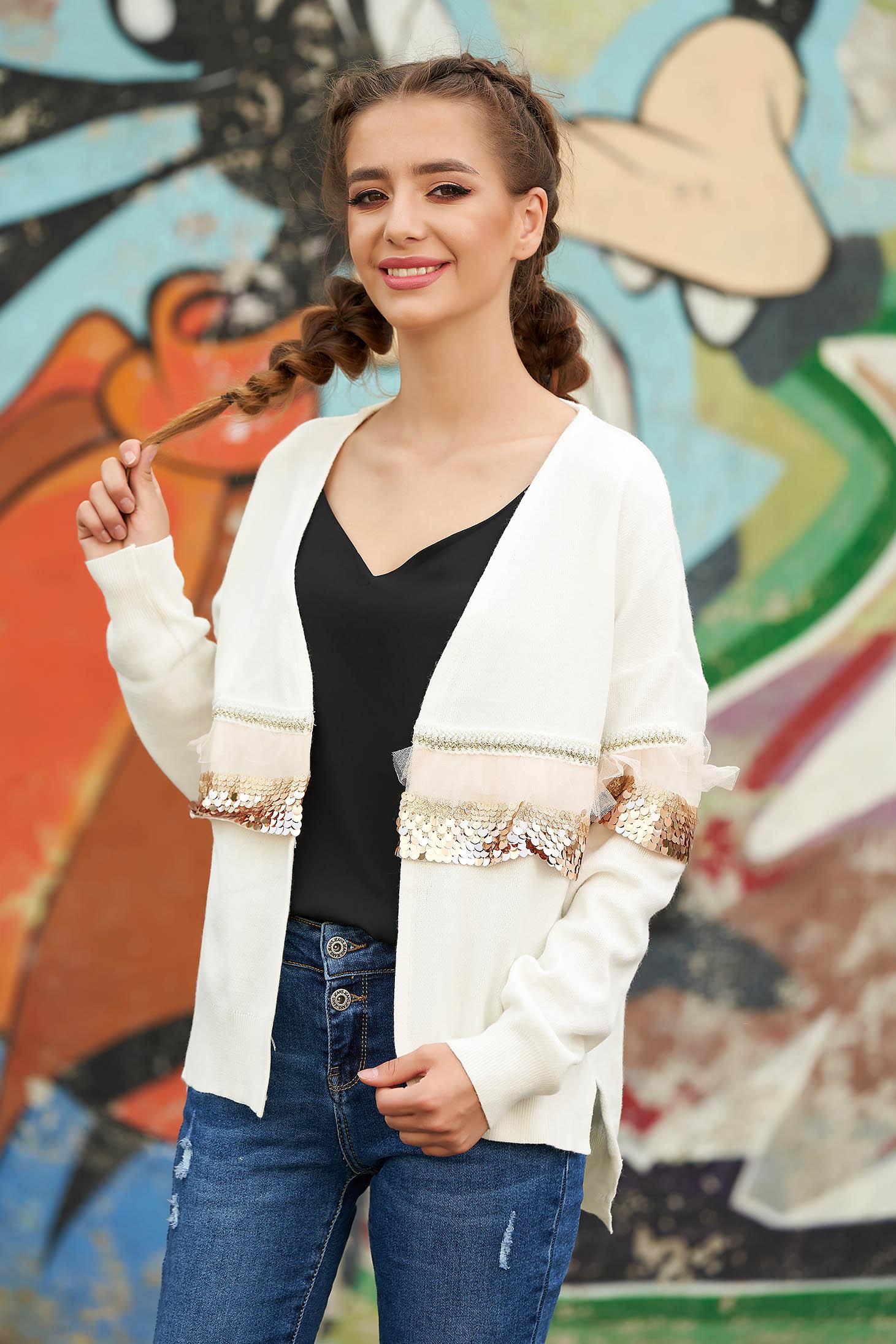 Cardigan alb casual tricotat cu croi larg cu maneci lungi cu aplicatii cu paiete
