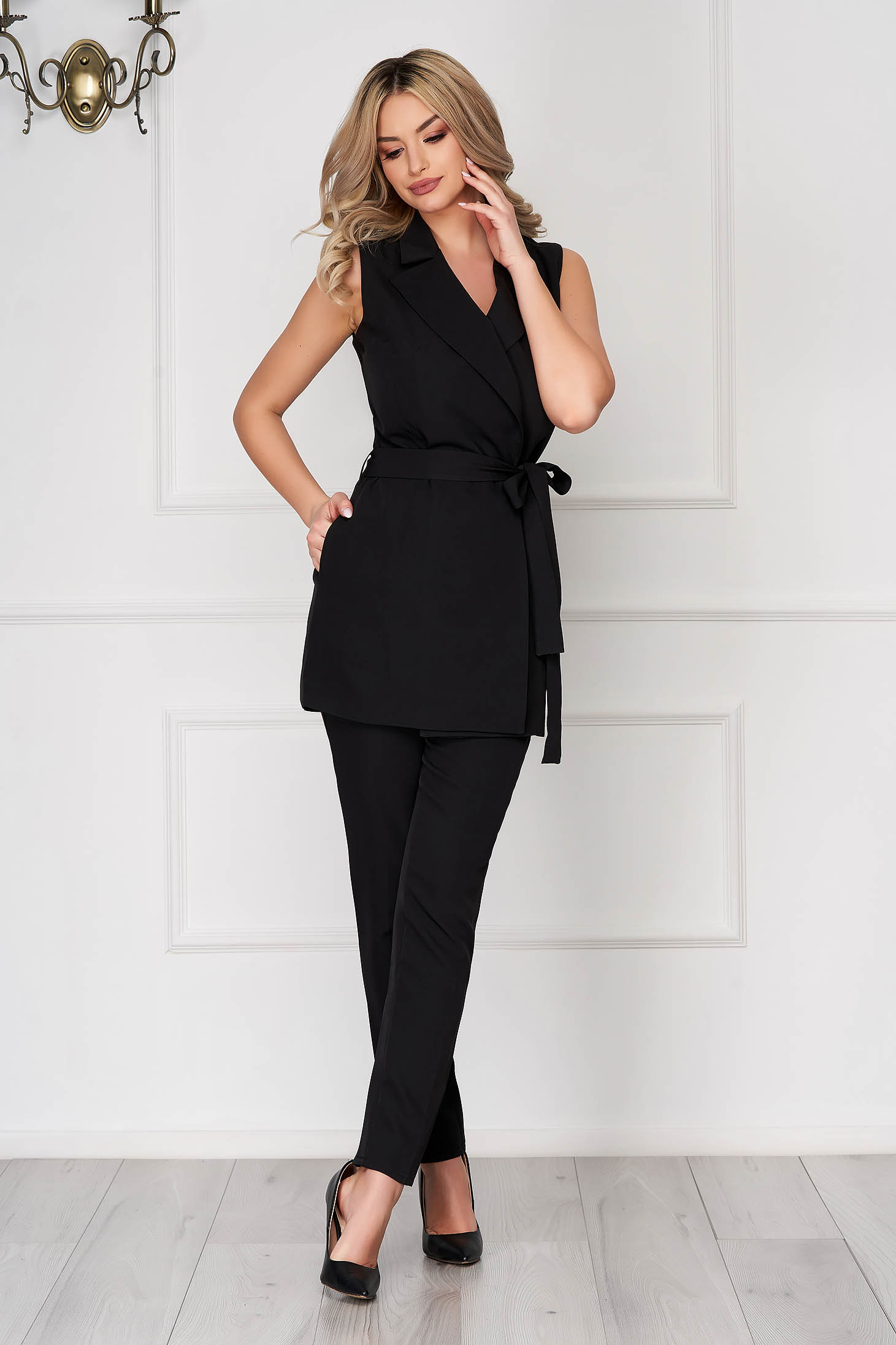 Black lady set with trousers 2 pieces elegant cloth thin fabric detachable cord