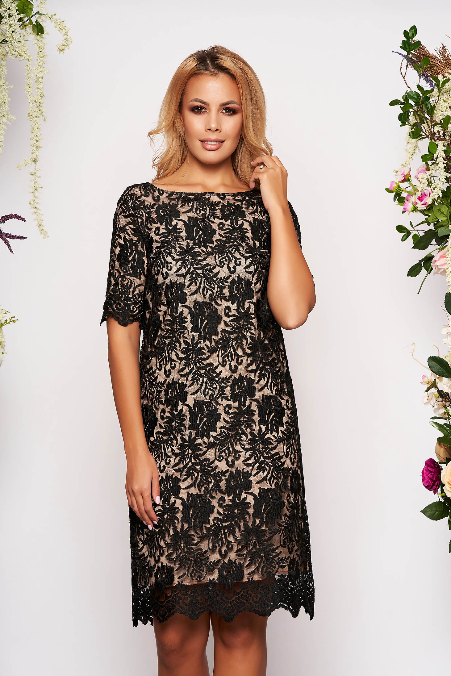 StarShinerS black elegant midi dress with easy cut from laced fabric