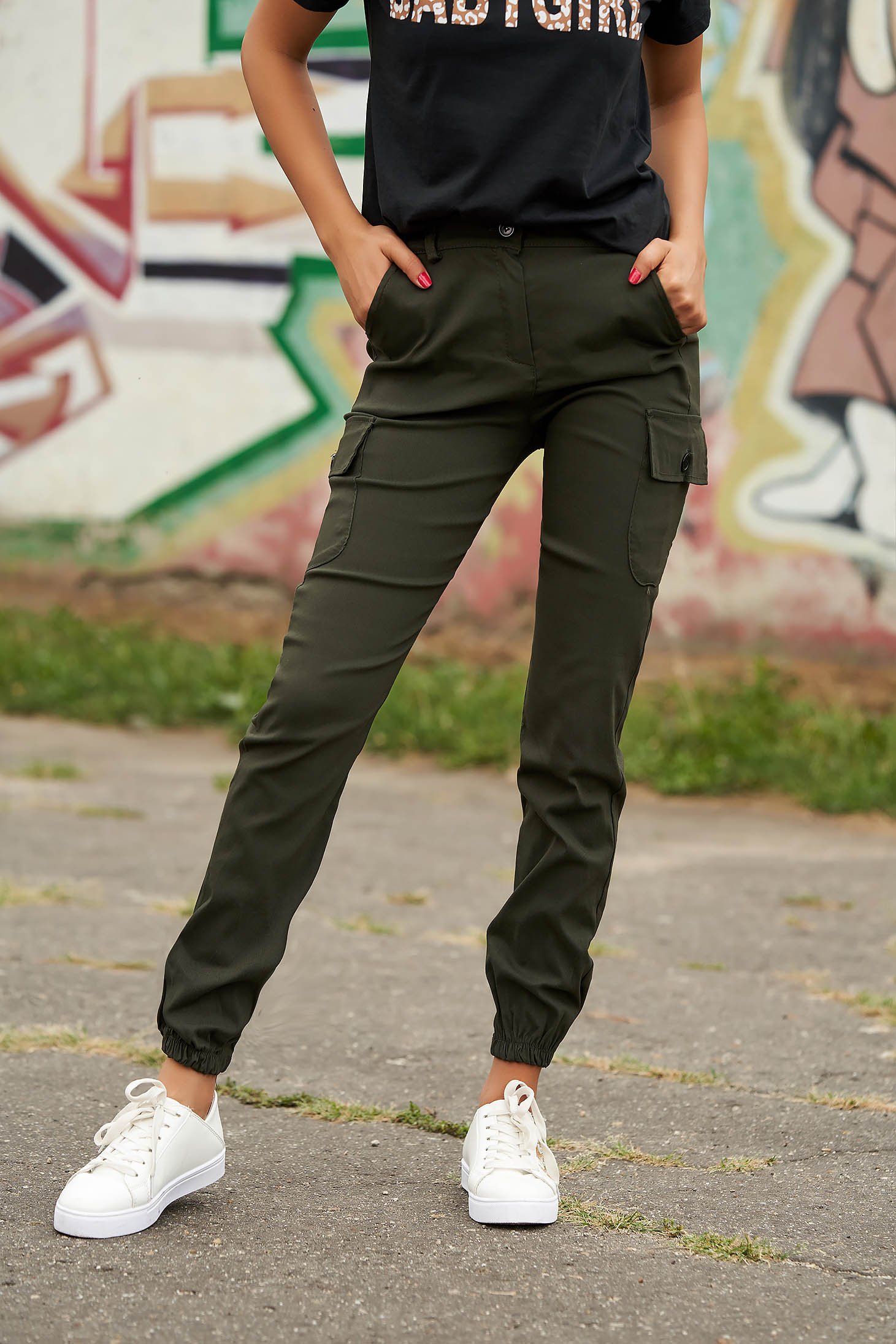 Pantaloni SunShine khaki casual din imitatie de denim cu talie inalta cu buzunare in fata si laterale
