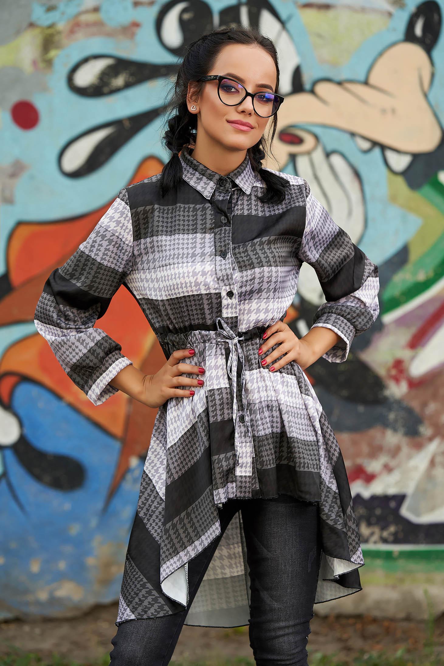 Bluza dama SunShine neagra casual de zi asimetrica cu maneci lungi cu snur in talie si imprimeuri grafice