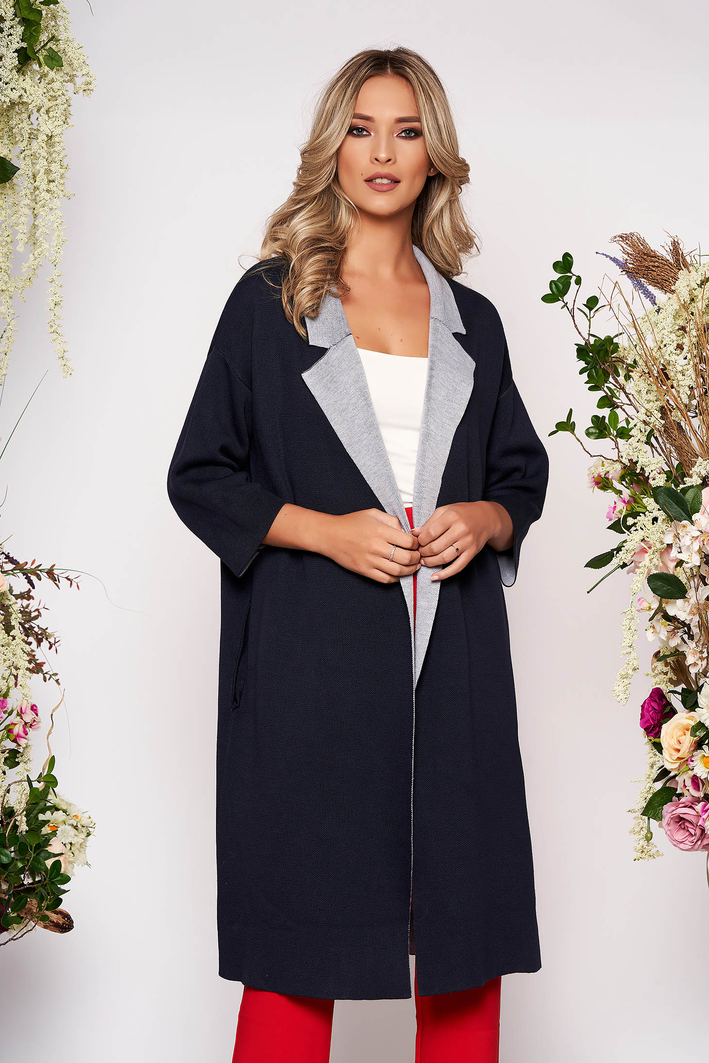 Darkblue cardigan casual long knitted fabric with easy cut