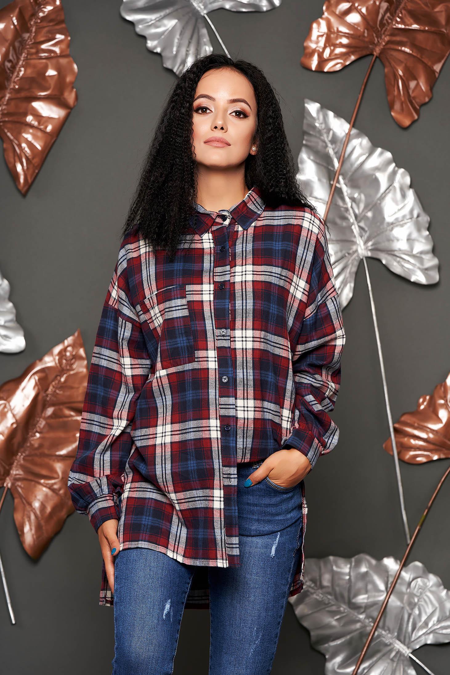 Burgundy kockás casual aszimetrikus női ing pamutból hosszú ujjakkal