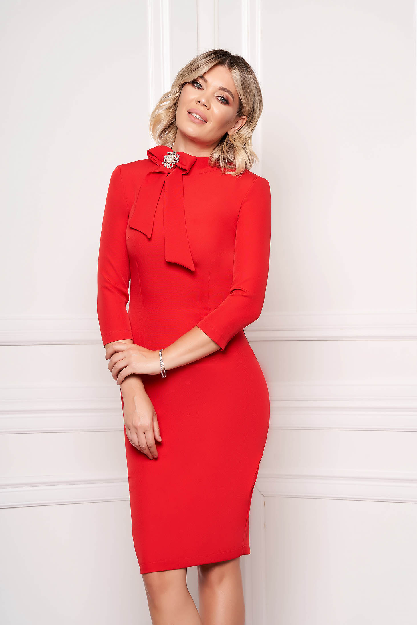 StarShinerS red dress elegant office midi cloth slightly elastic fabric accessorized with breastpin