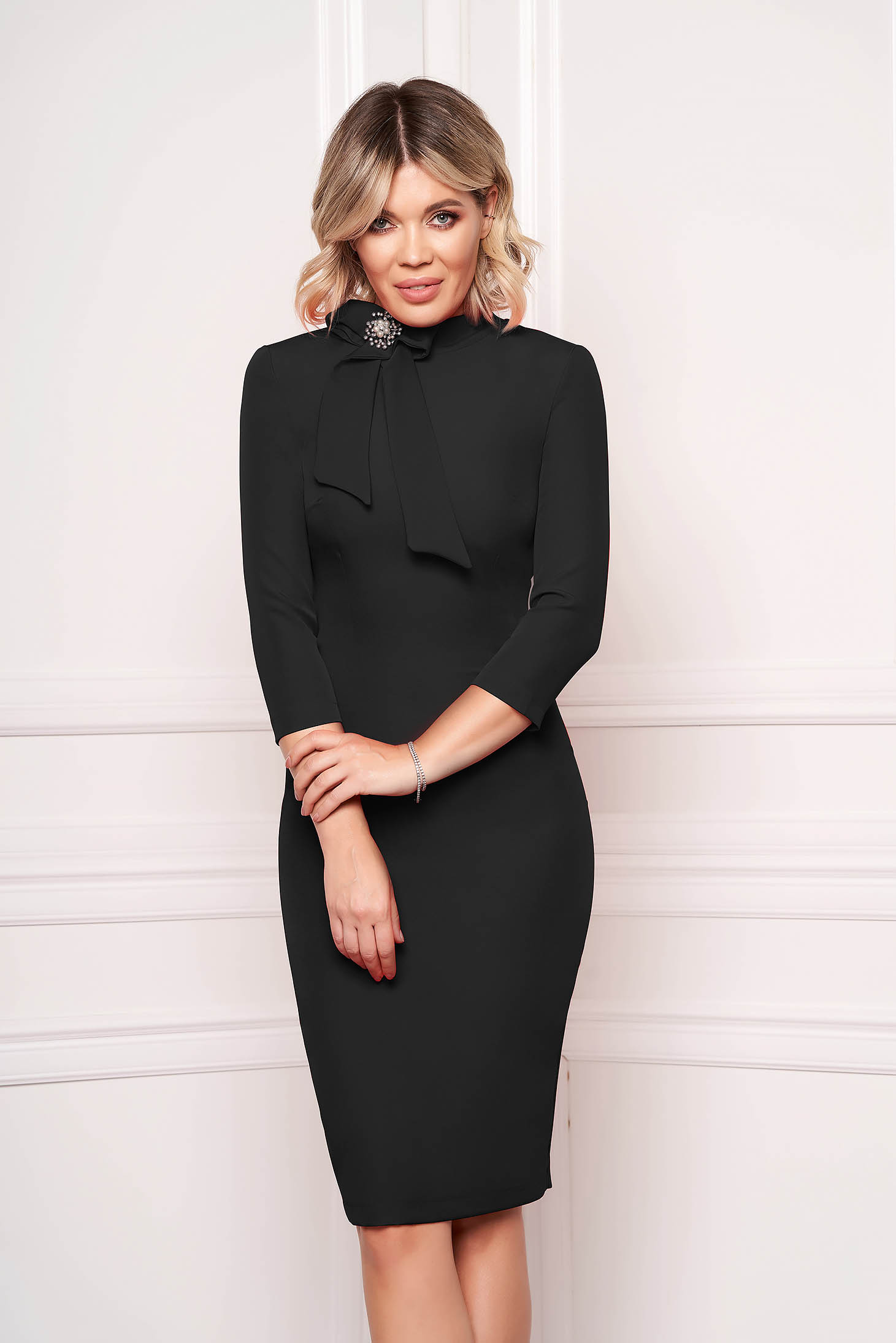 StarShinerS black dress elegant office midi cloth slightly elastic fabric accessorized with breastpin