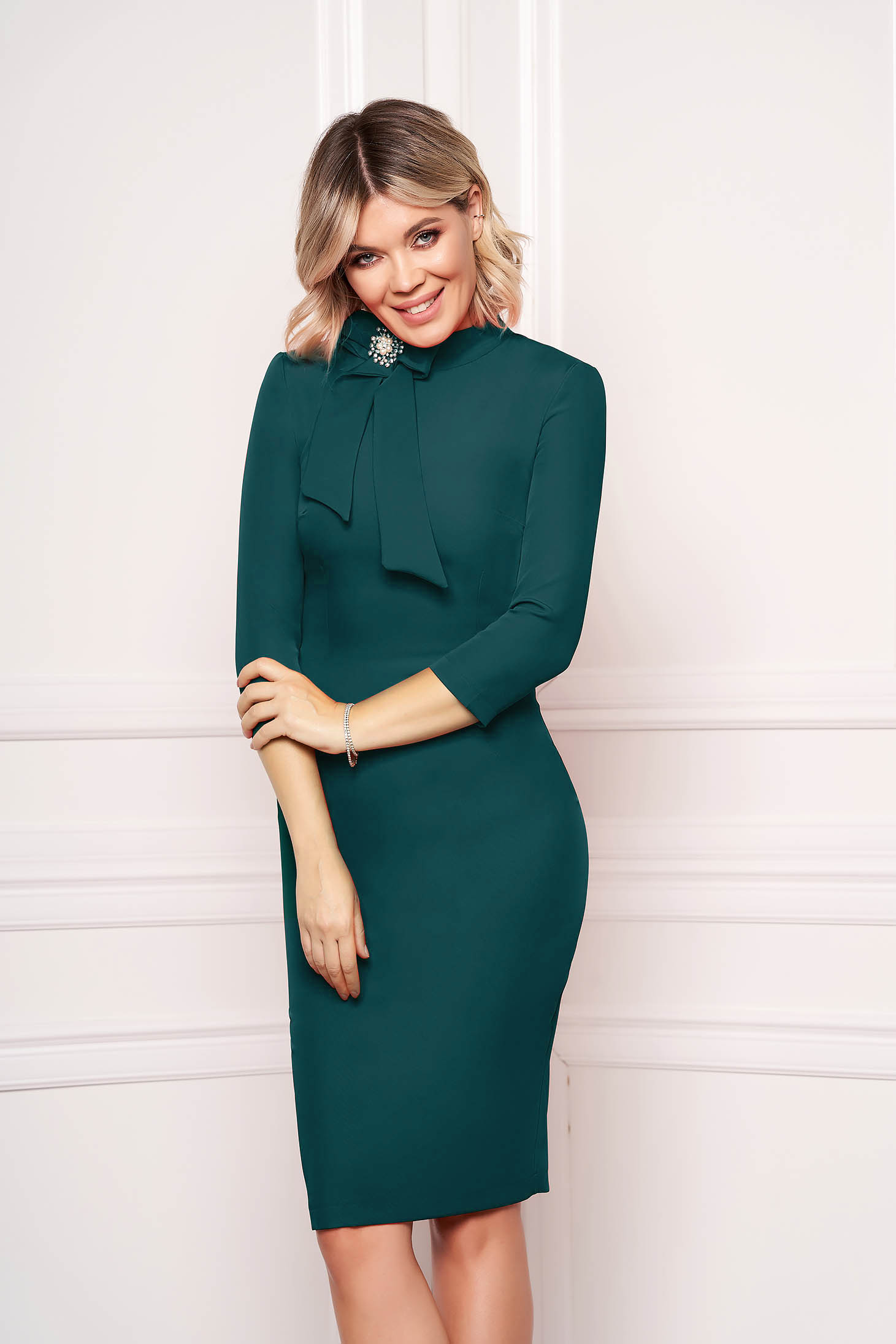 StarShinerS dirty green dress elegant office midi cloth slightly elastic fabric accessorized with breastpin