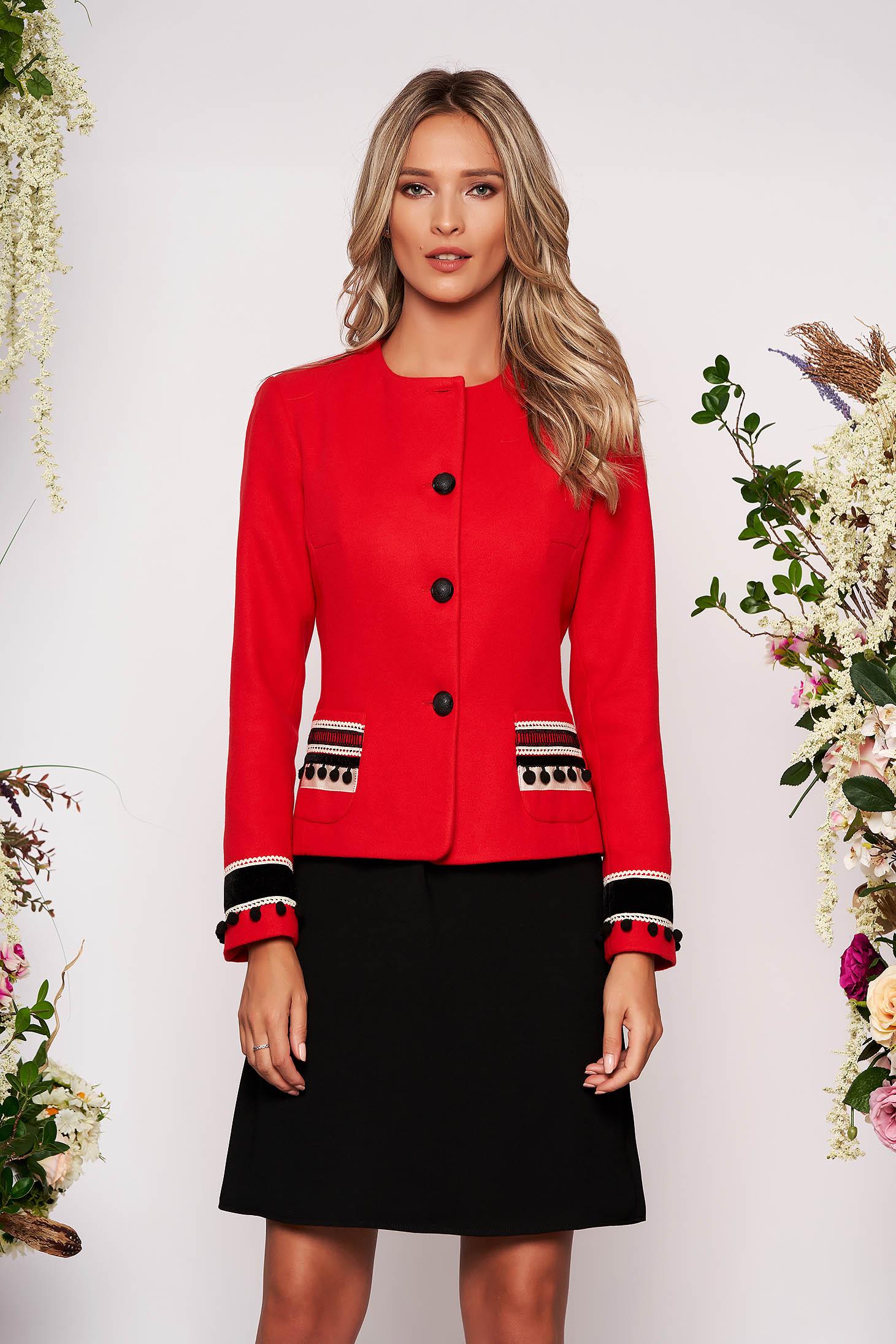 Red jacket wool tented elegant blazer handmade applications