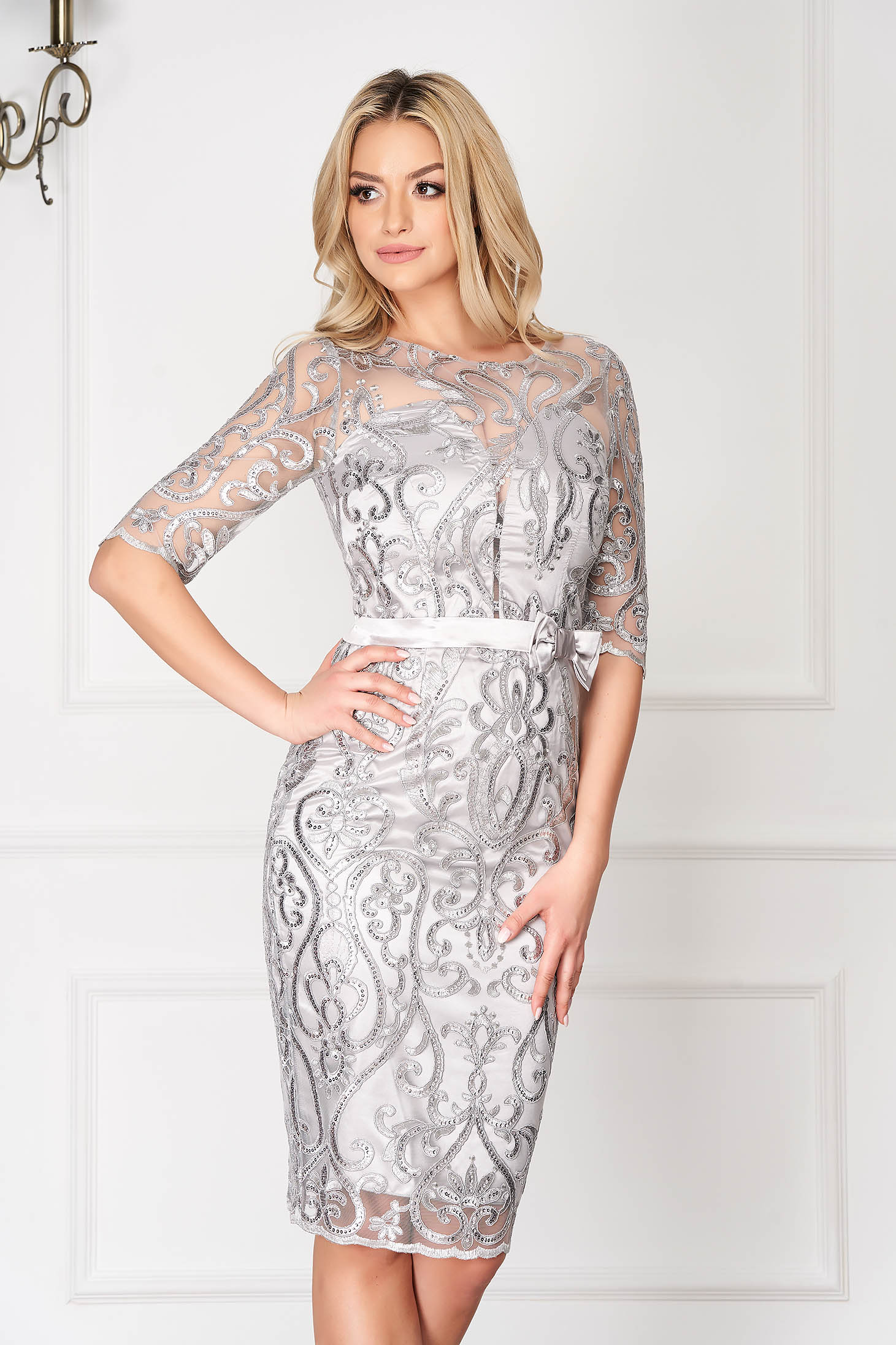 Silver dress occasional midi pencil with sequin embellished details back slit with 3/4 sleeves