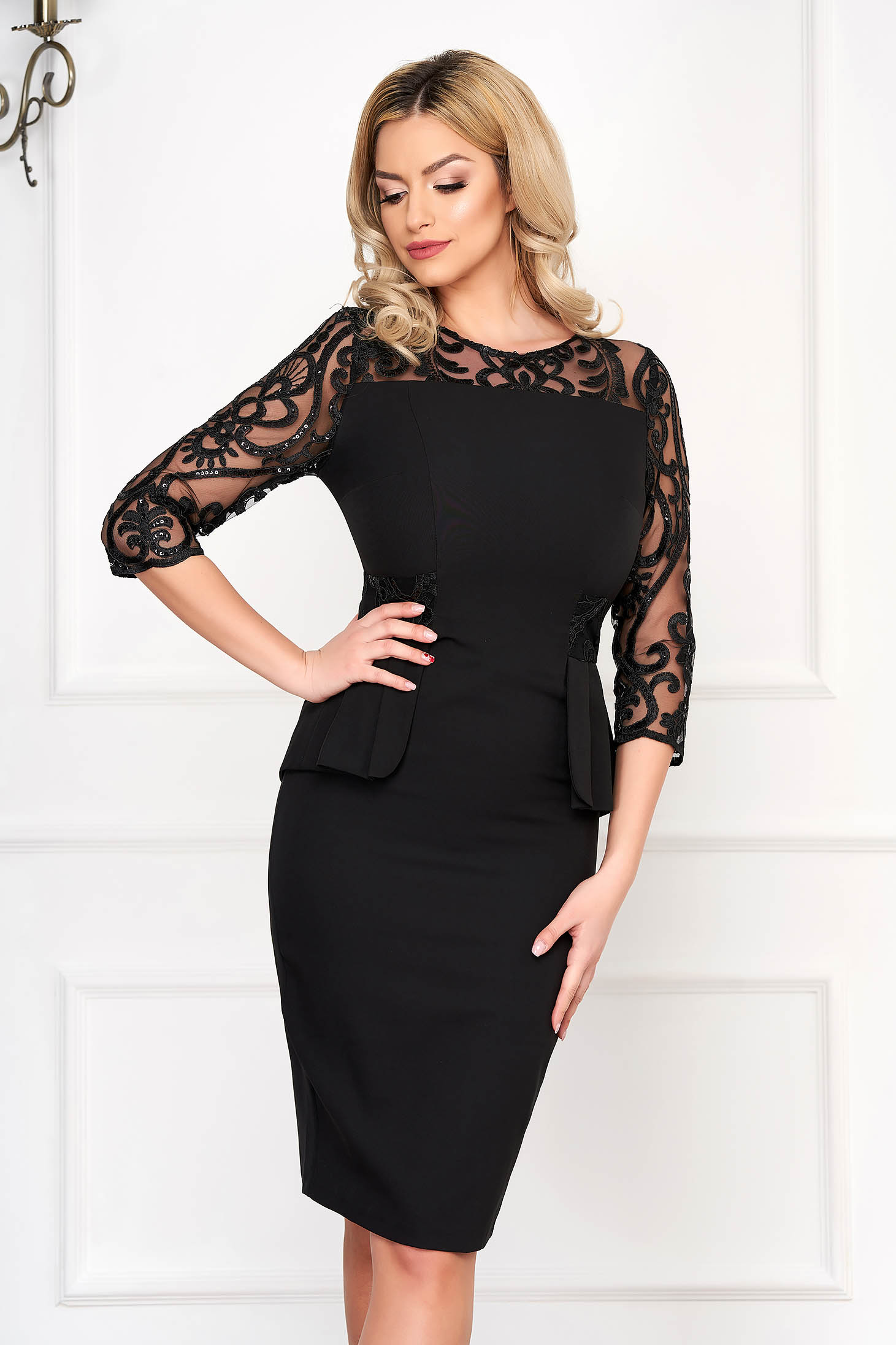 Black dress occasional midi pencil with sequin embellished details with laced sleeves cloth