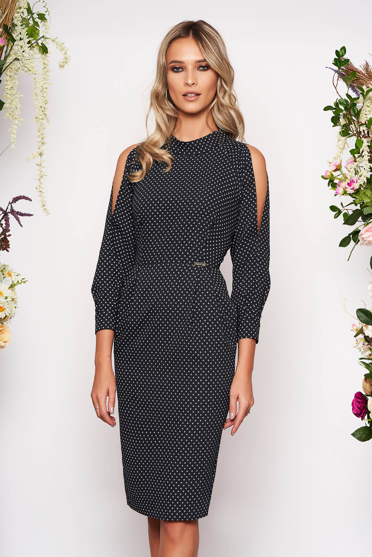 Black dress elegant midi pencil with turtle neck with pockets both shoulders cut out with graphic details