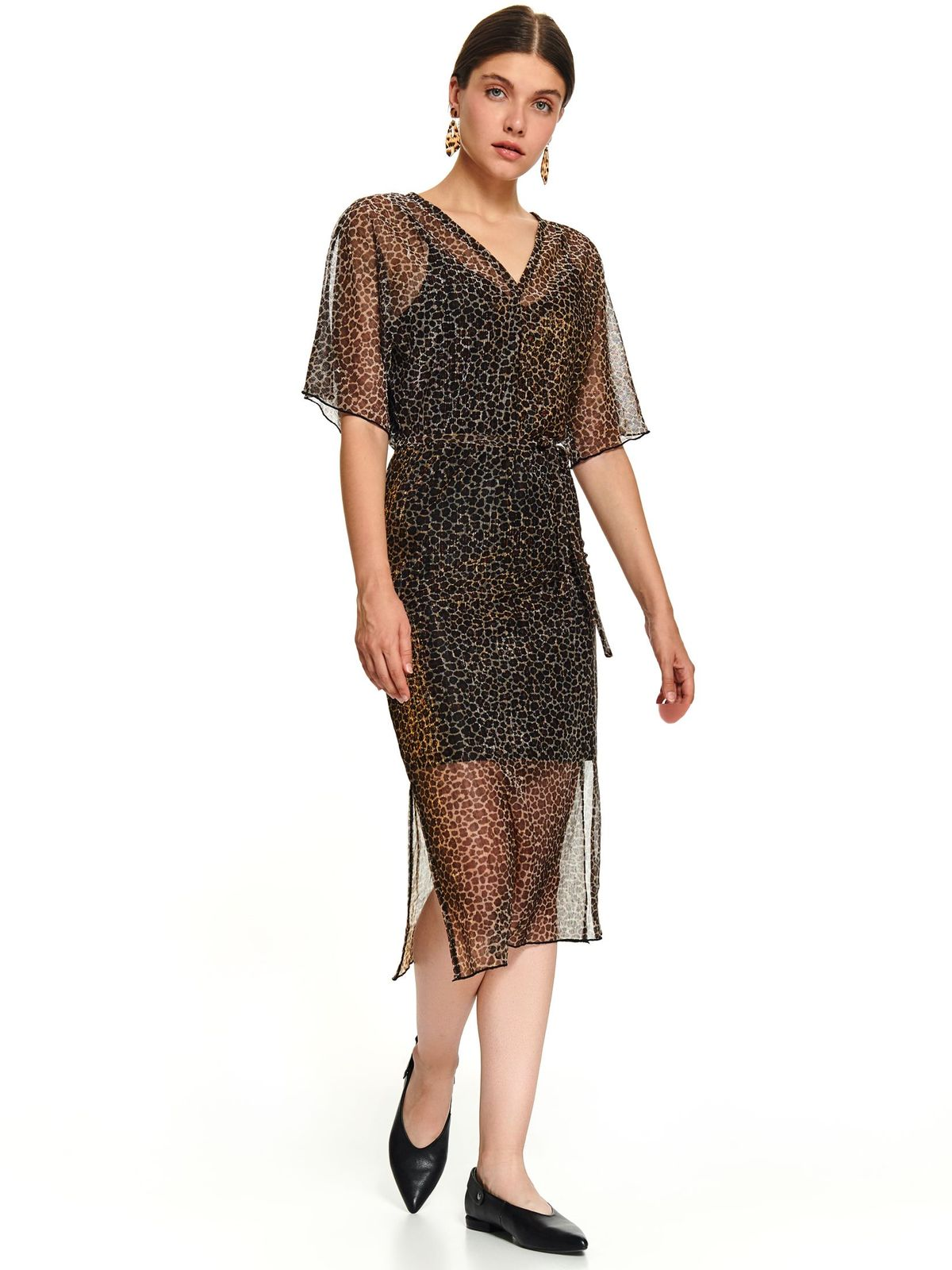 Black daily short cut dress with short sleeves airy fabric and detachable cord