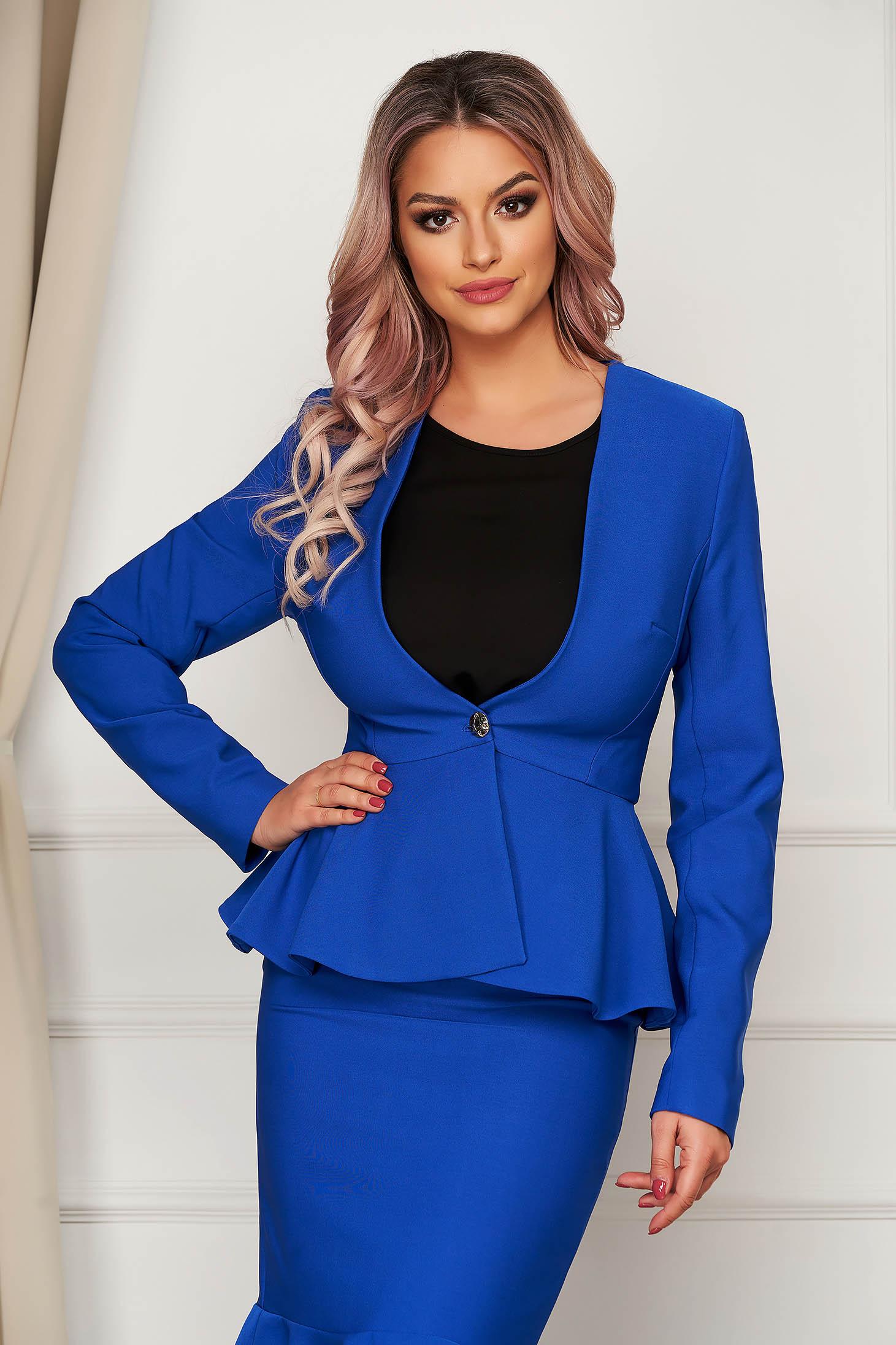 StarShinerS blue jacket elegant short cut cloth slightly elastic fabric long sleeved with inside lining
