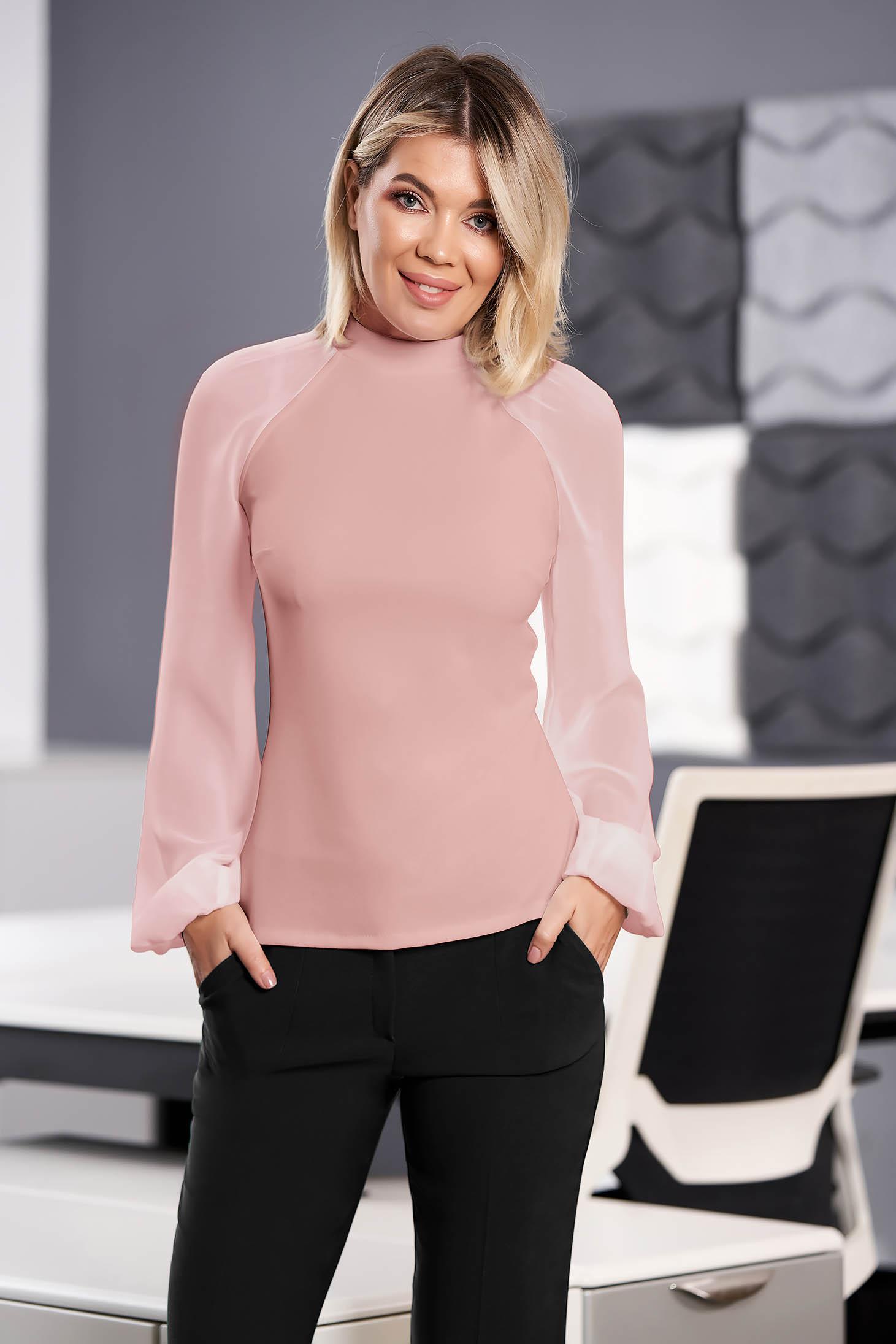 Bluza dama StarShinerS roz prafuit eleganta din material elastic cu croi larg cu maneci lungi