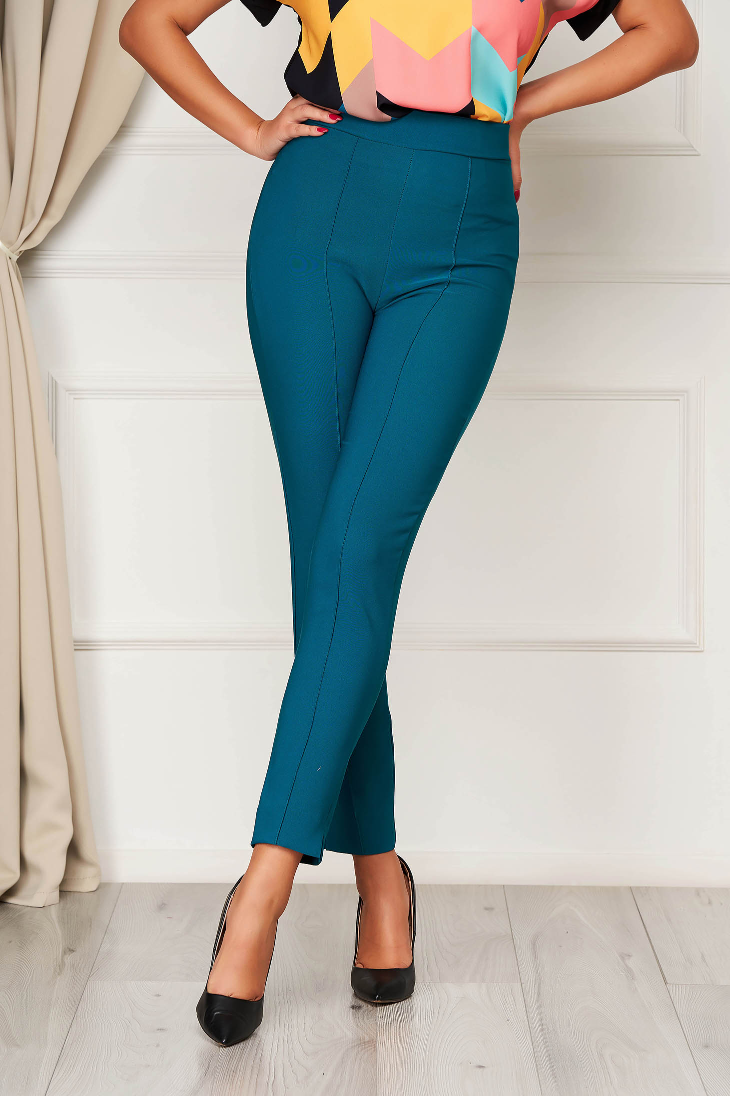 StarShinerS green trousers office high waisted slightly elastic fabric with pockets conical