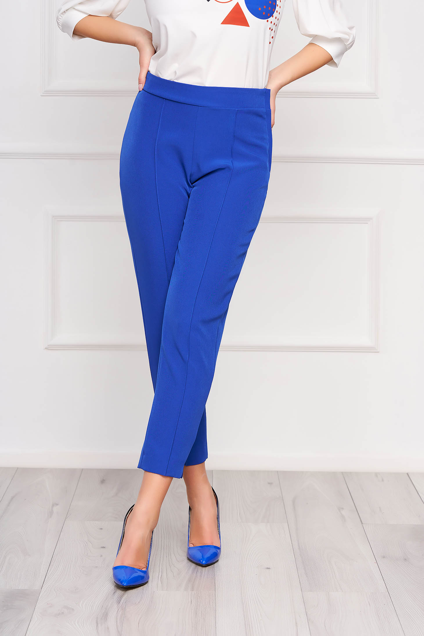 Pantaloni StarShinerS albastri office conici din material usor elastic cu talie inalta