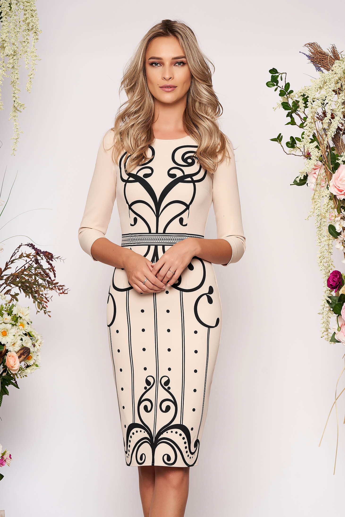 StarShinerS cream dress elegant daily 3/4 sleeve pencil with graphic details