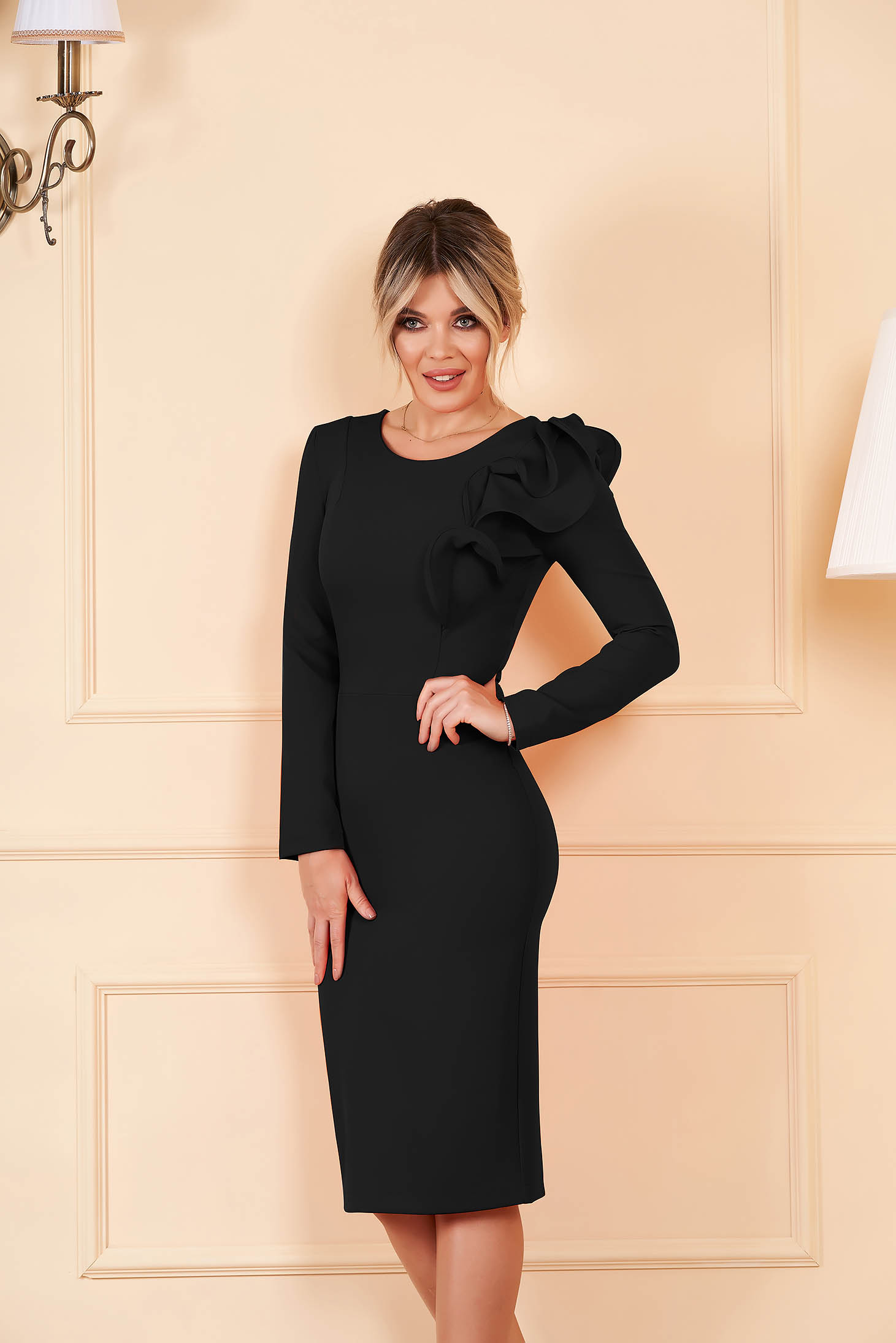Dress StarShinerS black with tented cut slightly elastic fabric with ruffled sleeves