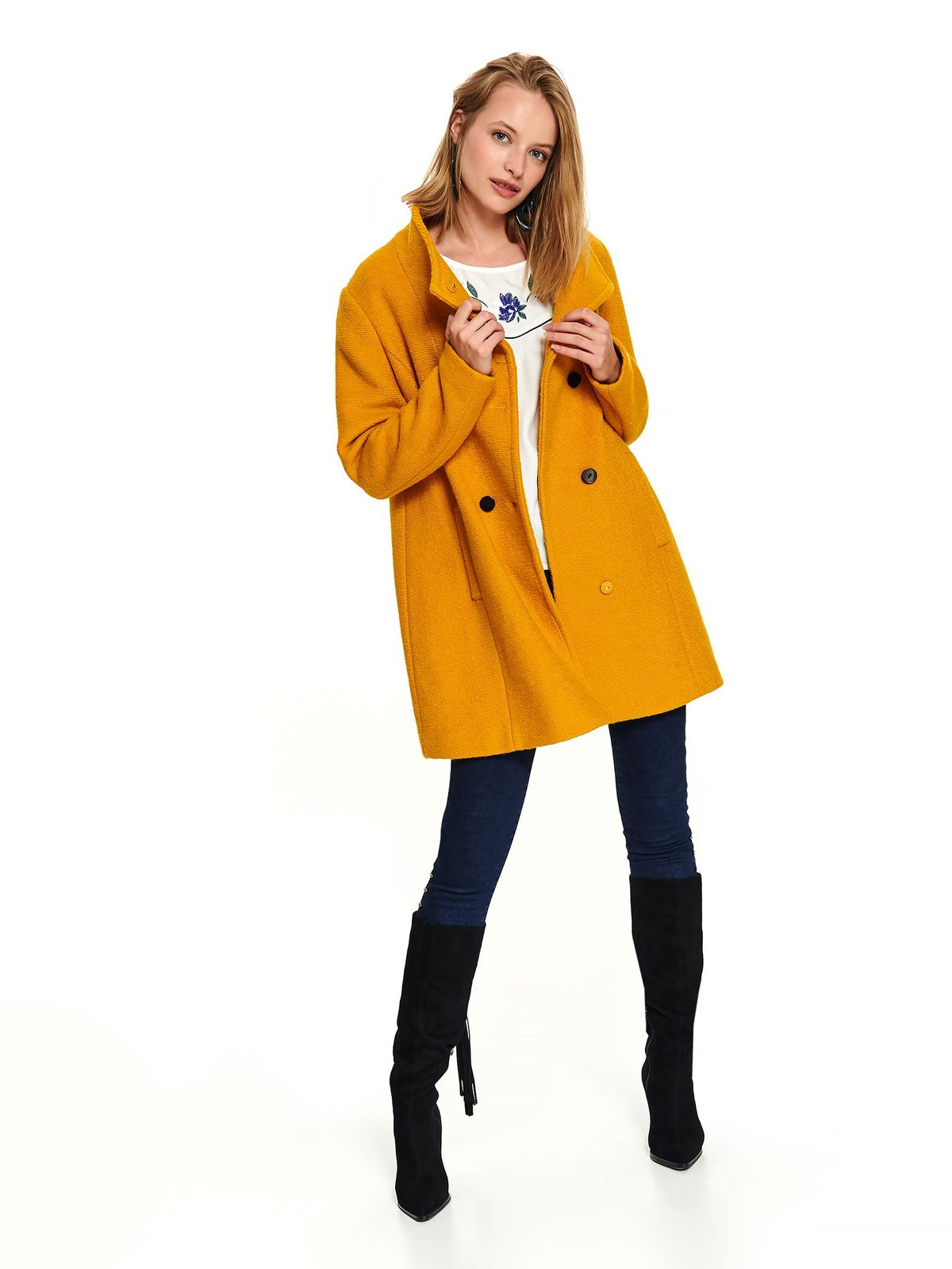 Yellow coat office short cut flared with pockets with buttons with turtle neck