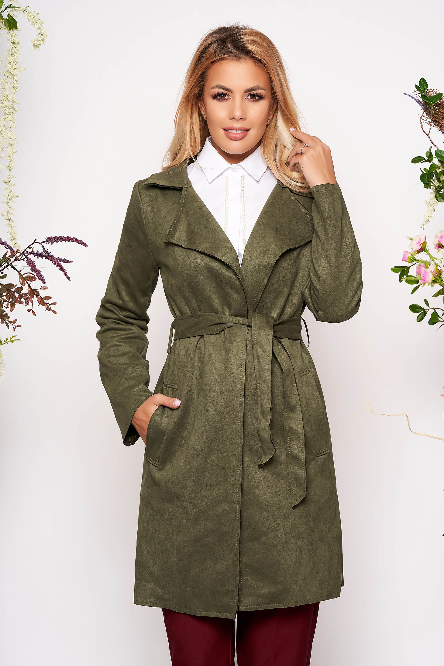 Khaki trenchcoat casual straight with pockets faux leather detachable cord