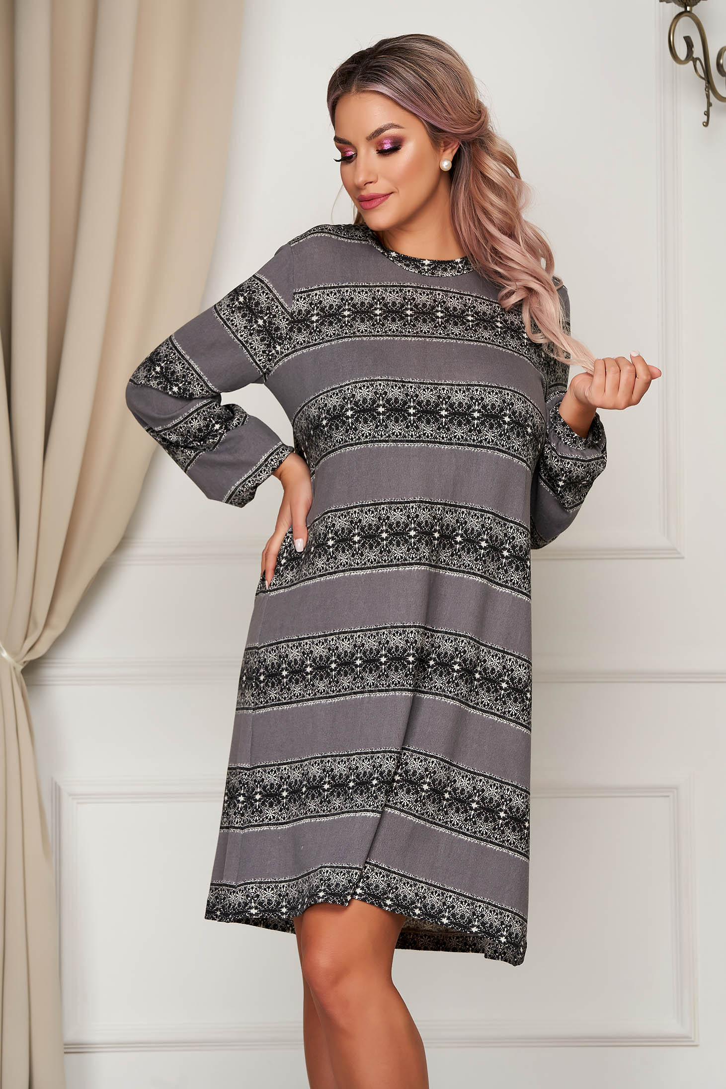 StarShinerS grey daily flared dress long sleeved thin fabric
