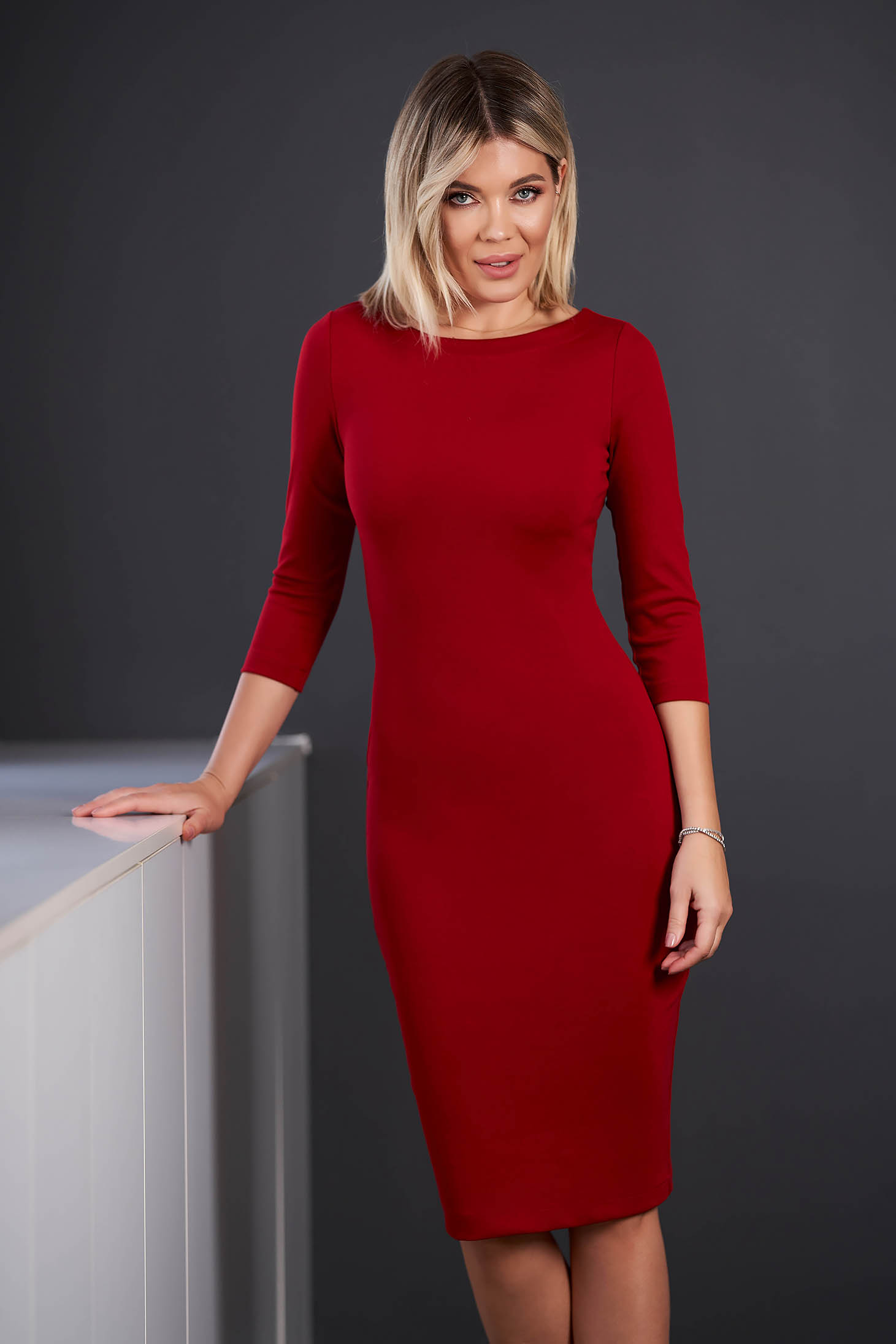 StarShinerS red dress office midi pencil neckline with 3/4 sleeves from elastic fabric back slit