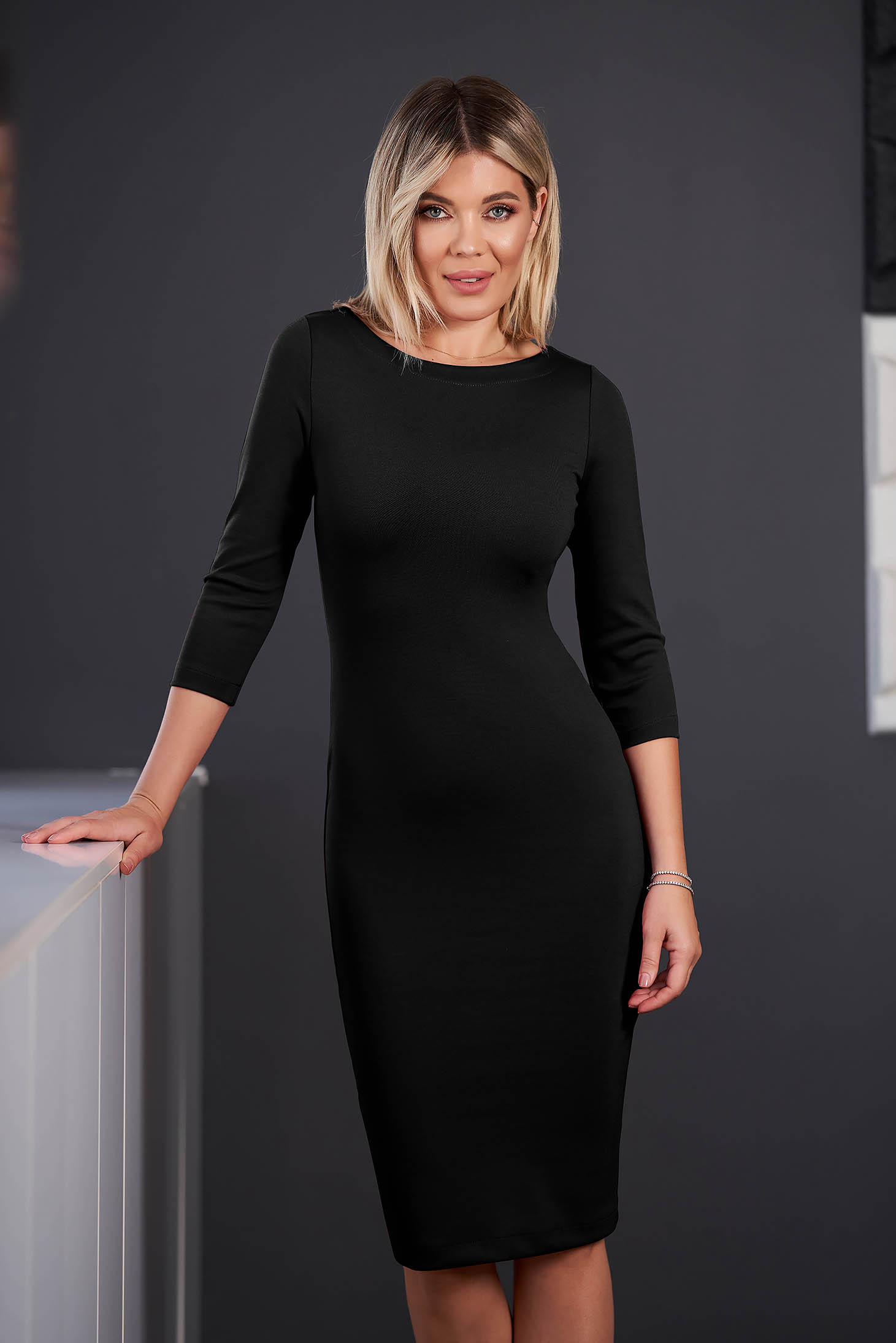 StarShinerS black dress office midi pencil neckline with 3/4 sleeves from elastic fabric back slit