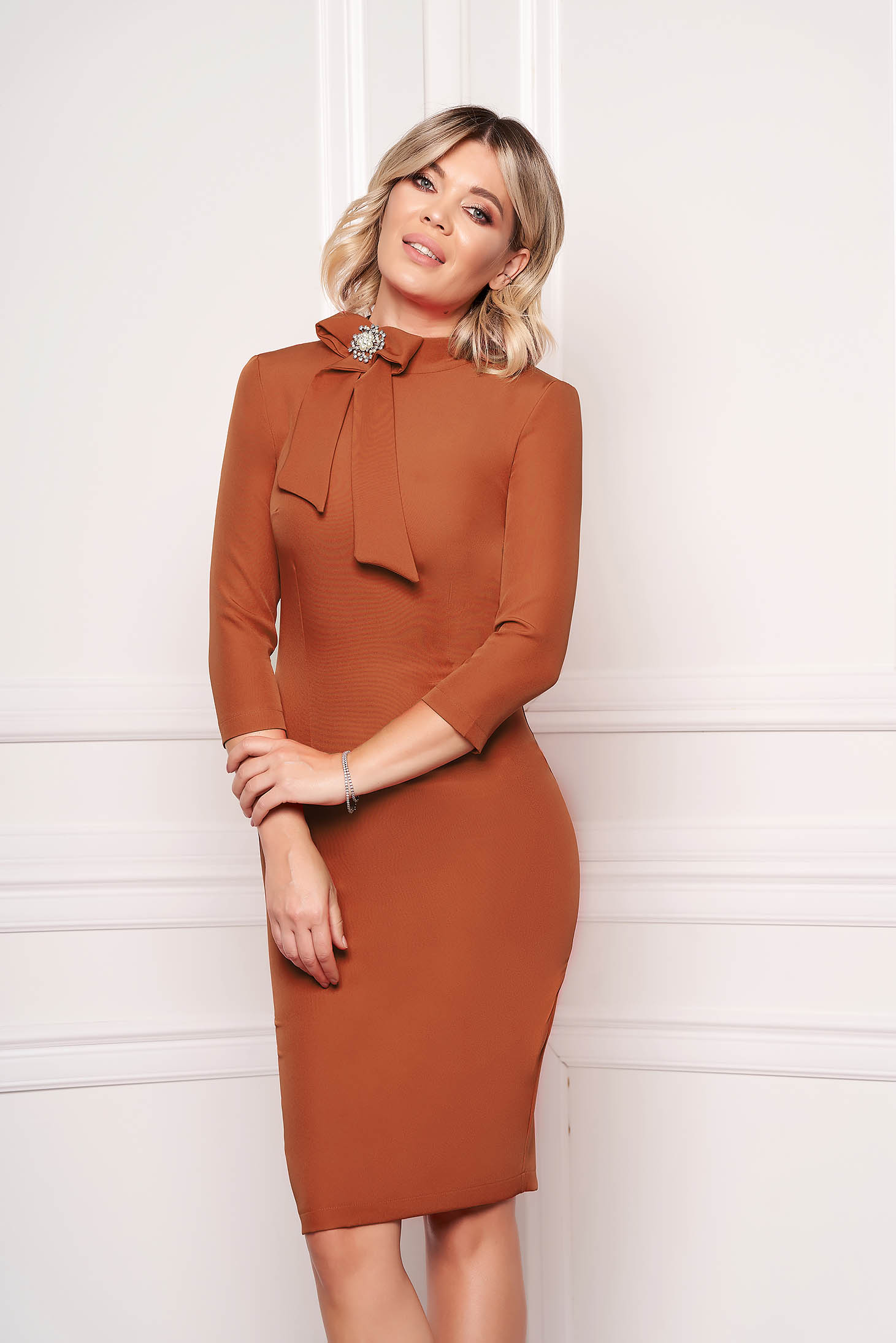 StarShinerS brown dress elegant office midi cloth slightly elastic fabric accessorized with breastpin
