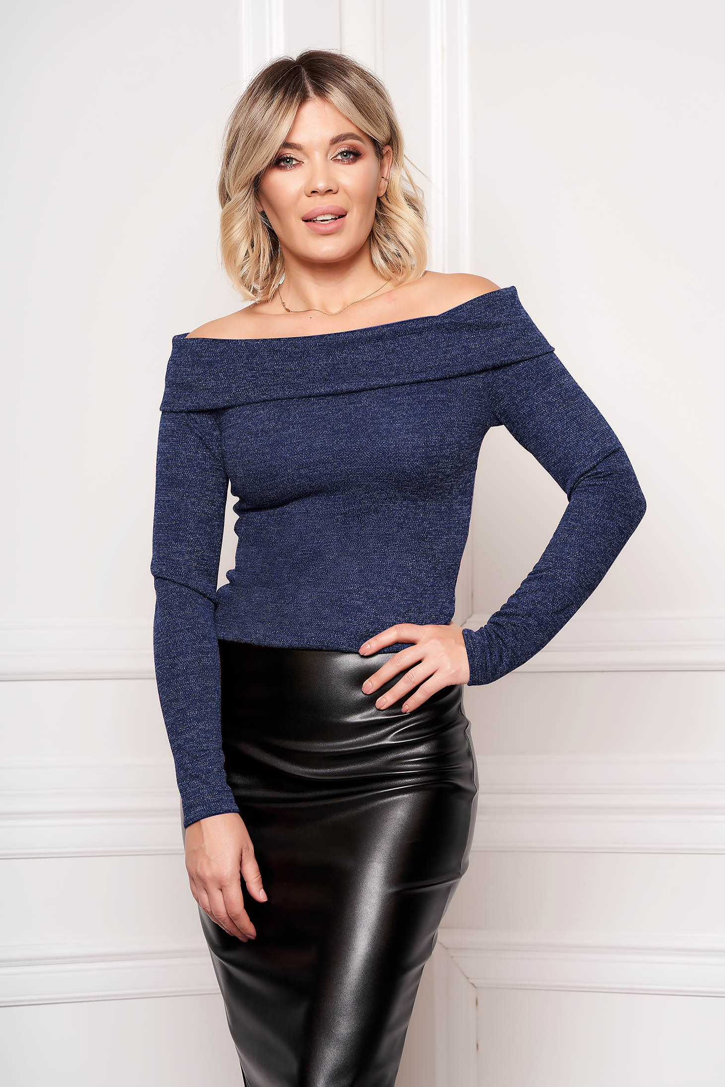 StarShinerS darkblue sweater elegant short cut tented long sleeved naked shoulders knitted fabric