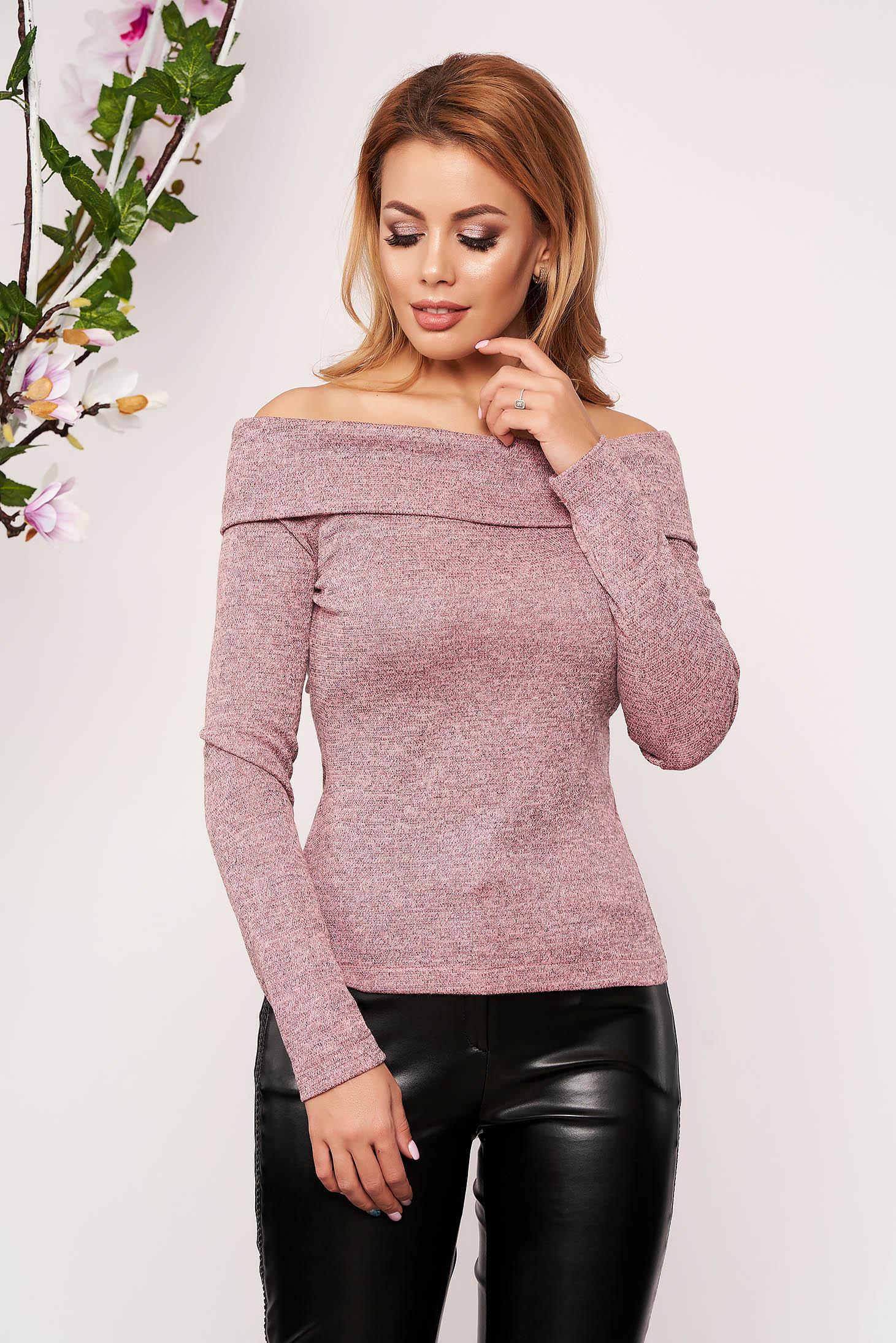Pulover StarShinerS roz deschis elegant scurt mulat din material tricotat cu maneci lungi si umeri goi